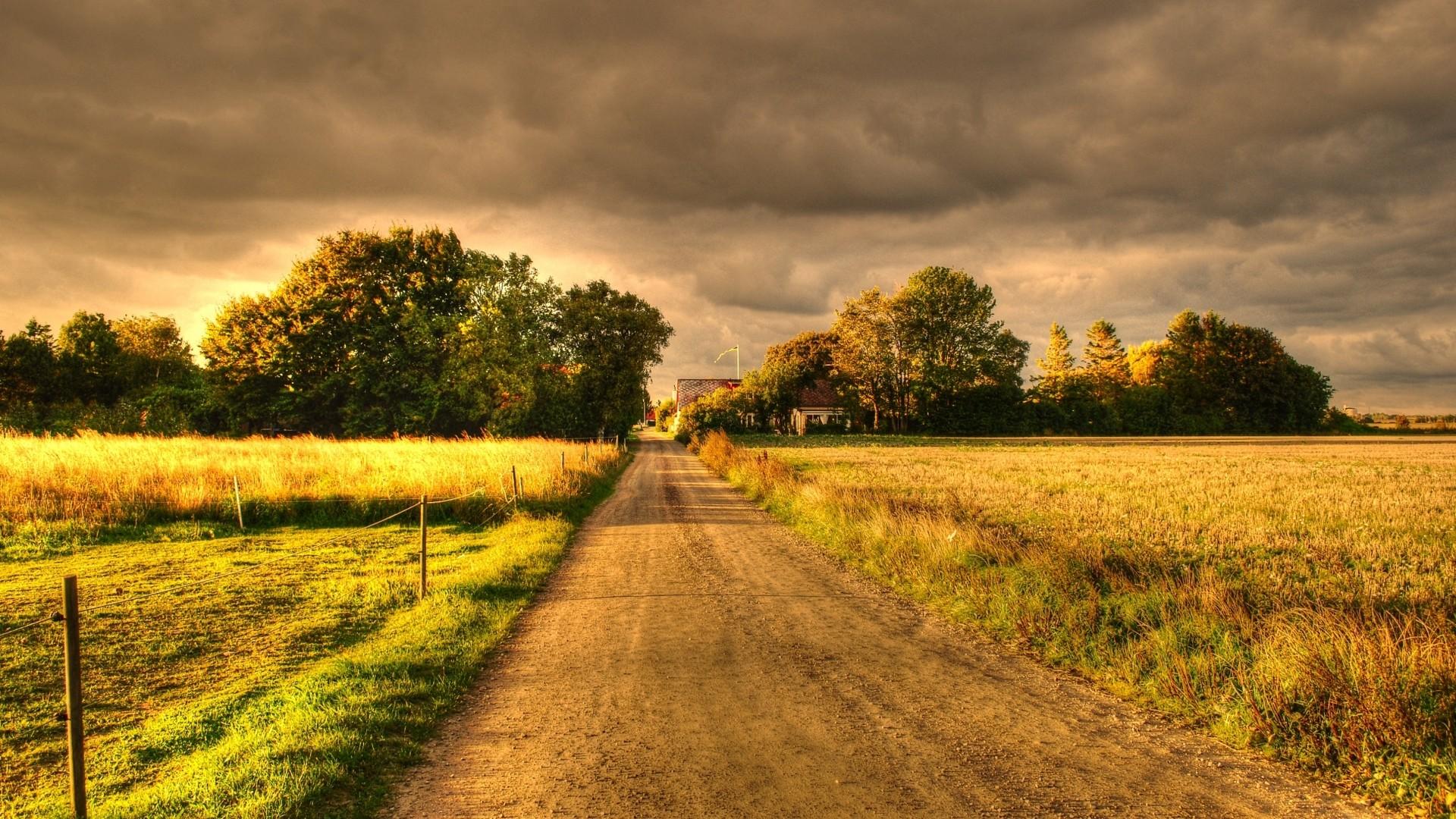 Wallpaper autumn, field, road, landscape