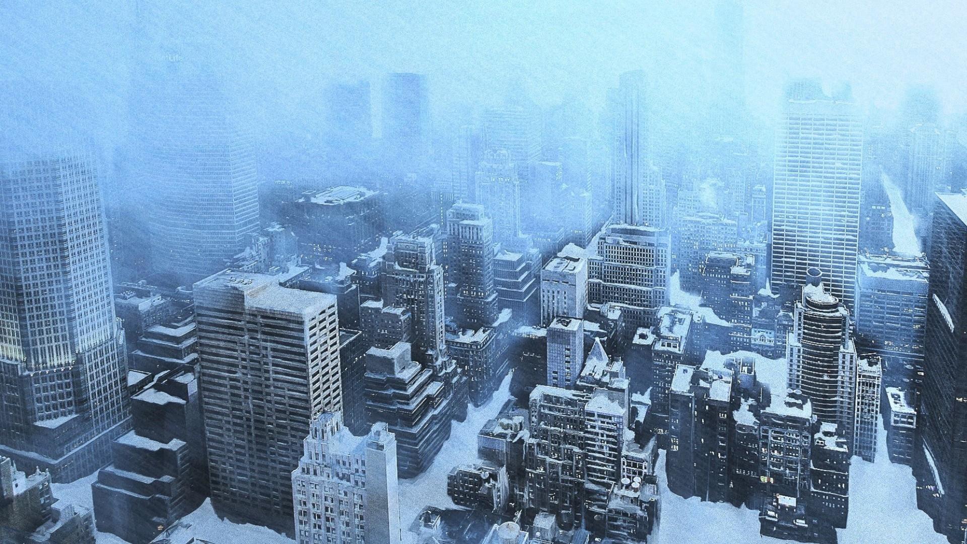 Snow falling on skyscrapers, New York City: