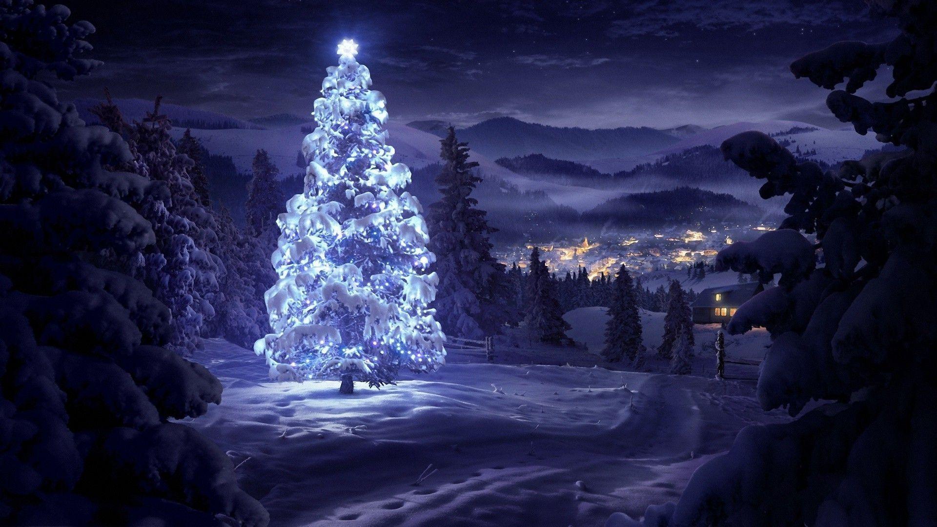 Merry Christmas Snow Fall Night Wallpaper Pics