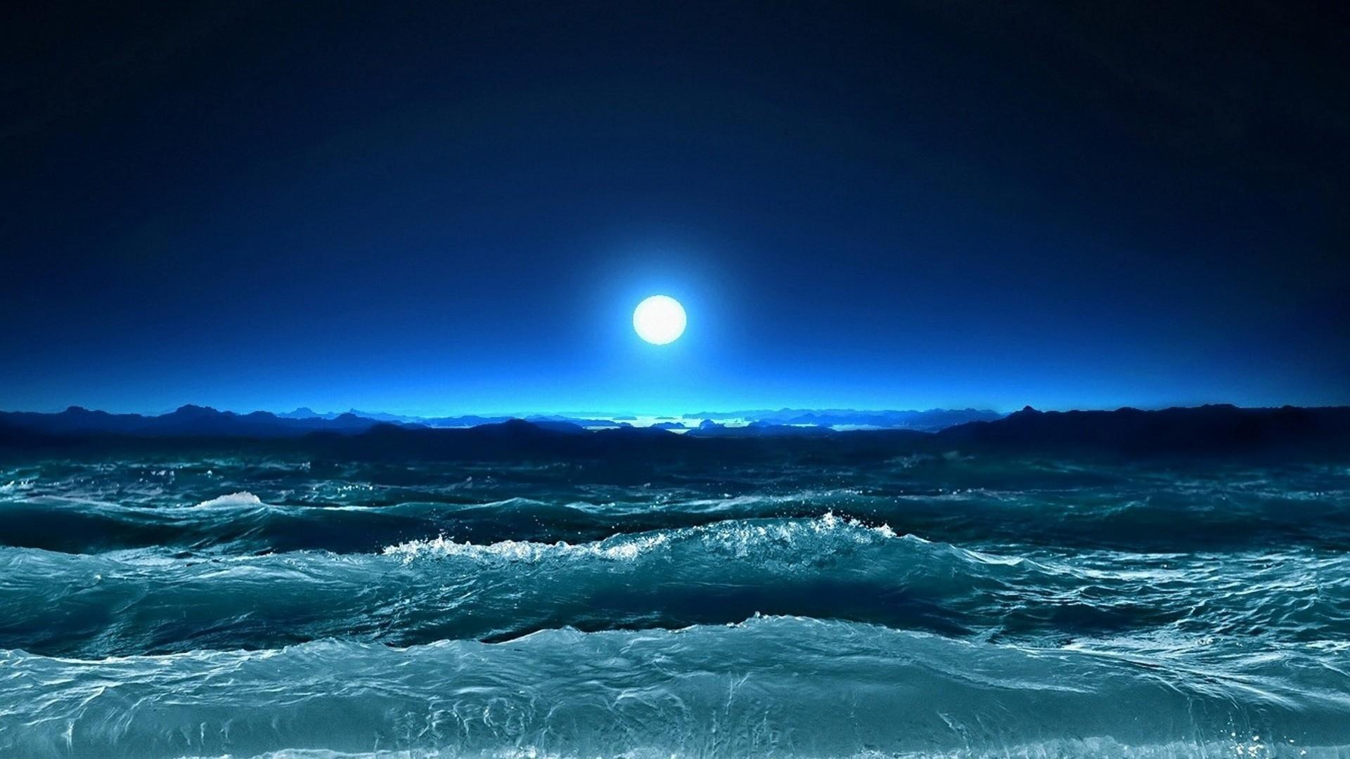 Preview wallpaper storm, waves, sea, moon, night, art 1920×1080