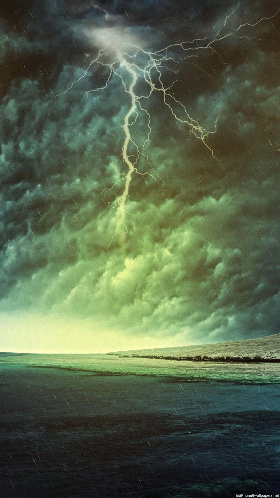 HD dark light sea clouds sky storm iphone 6 wallpaper