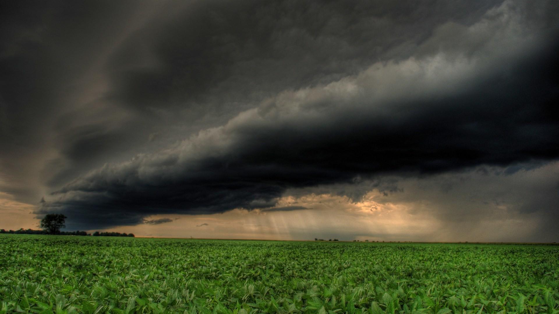 Clouds storm rain field wallpaper HD.