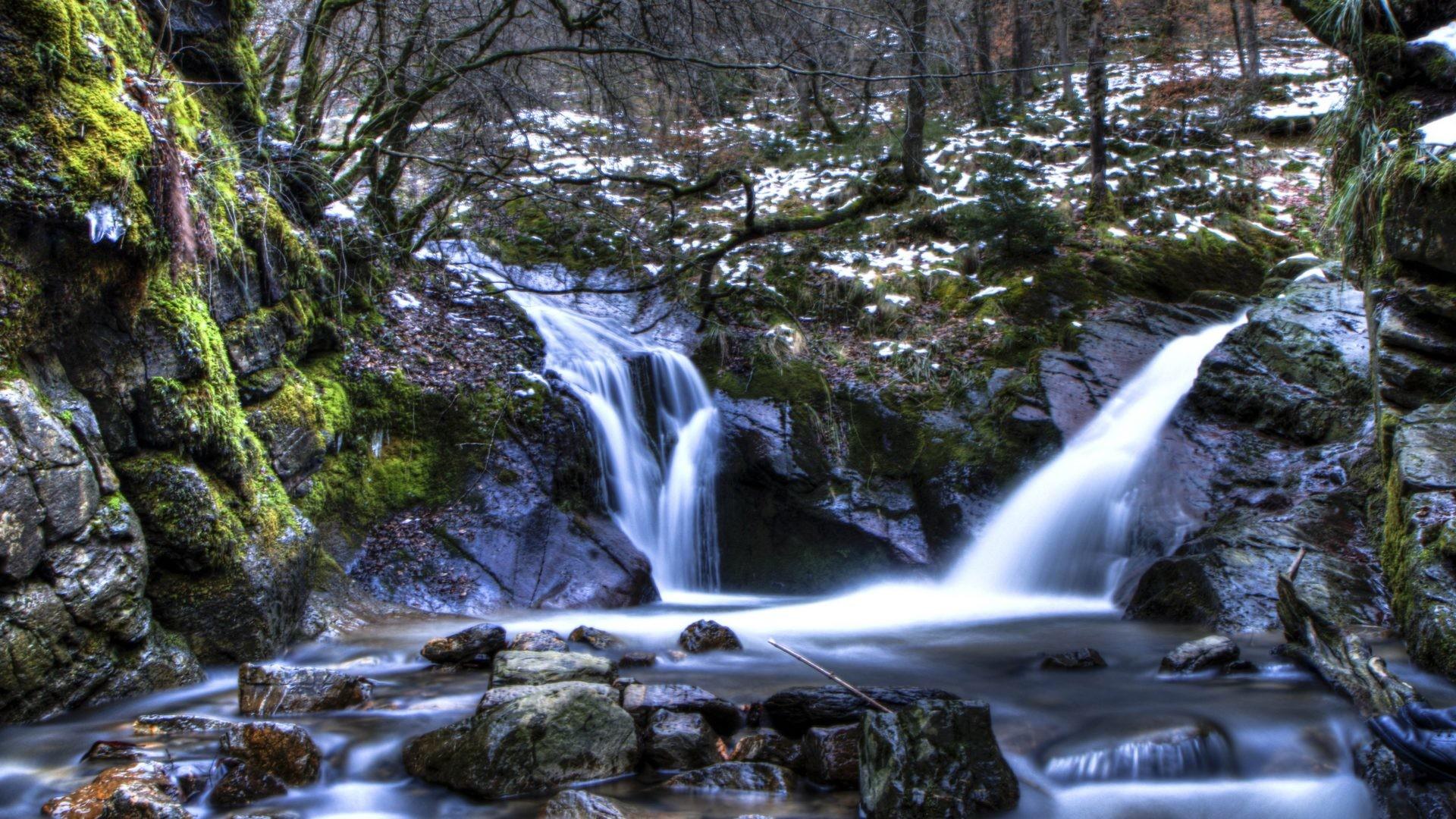 Waterfalls – Mountain Cove Autumn Fantasy Snow Water Winter Creek Nature  Stream Belgium Tree Magic Fall