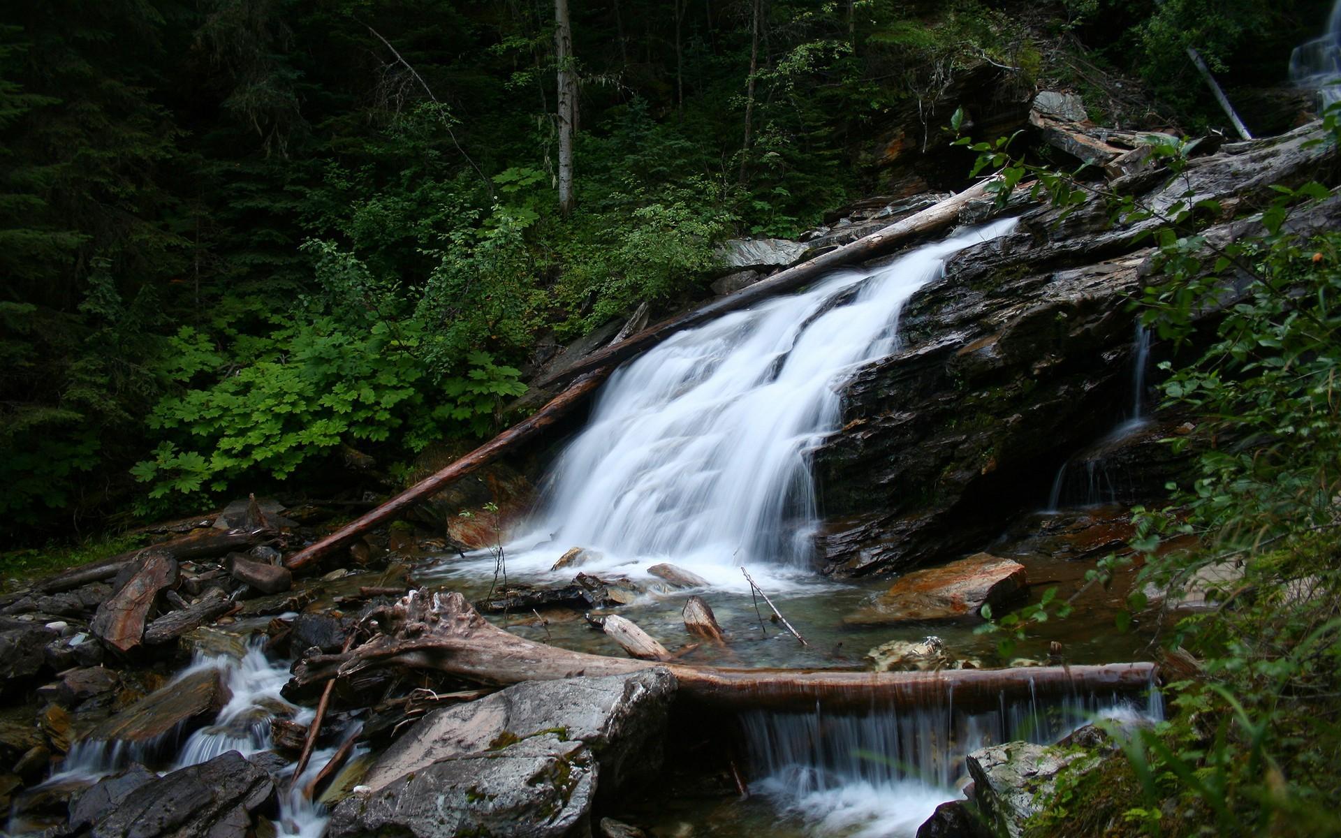 Mountain waterfall – spring wallpaper