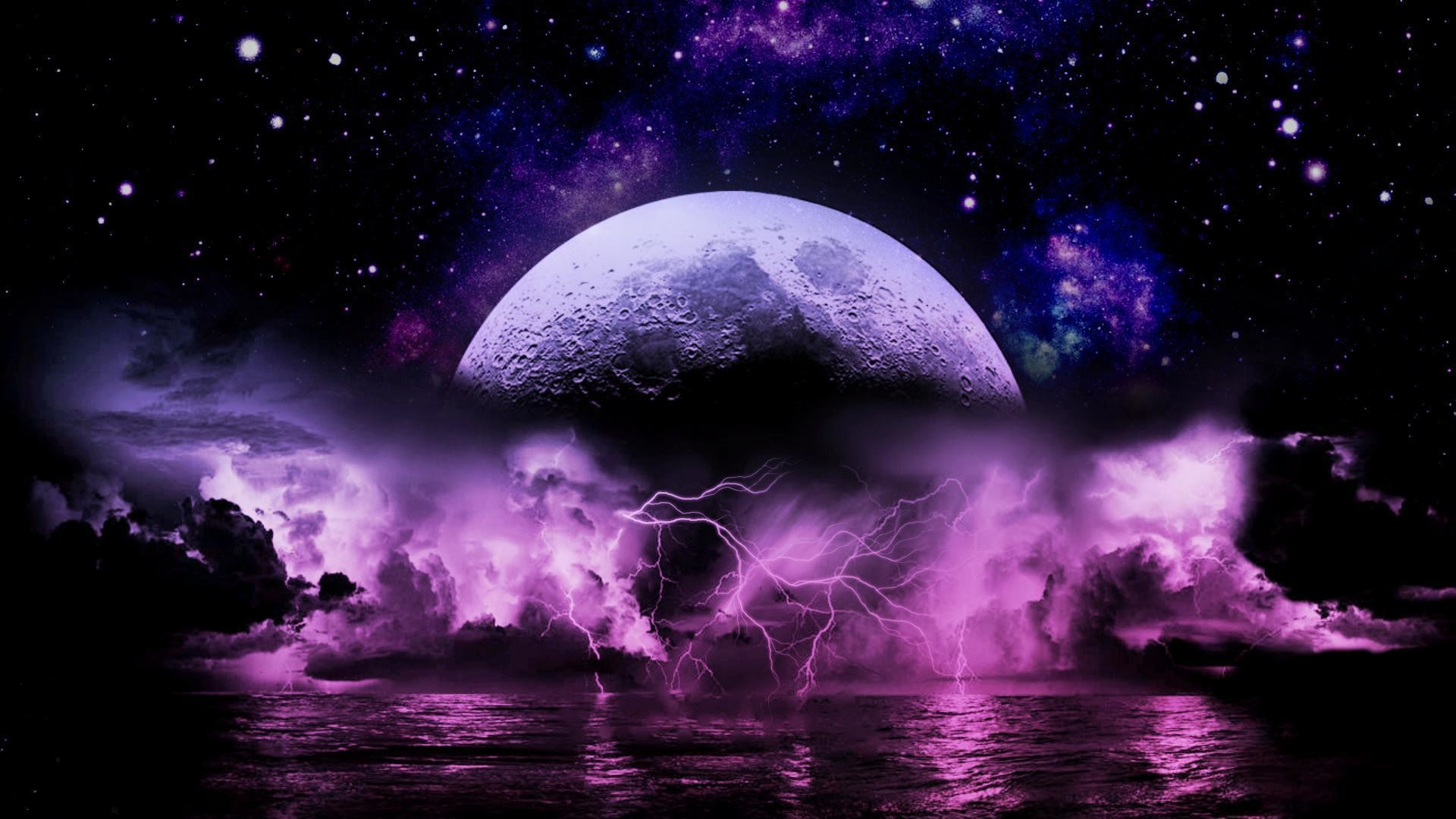 Wallpapers For > Purple Lightning Storm Wallpaper