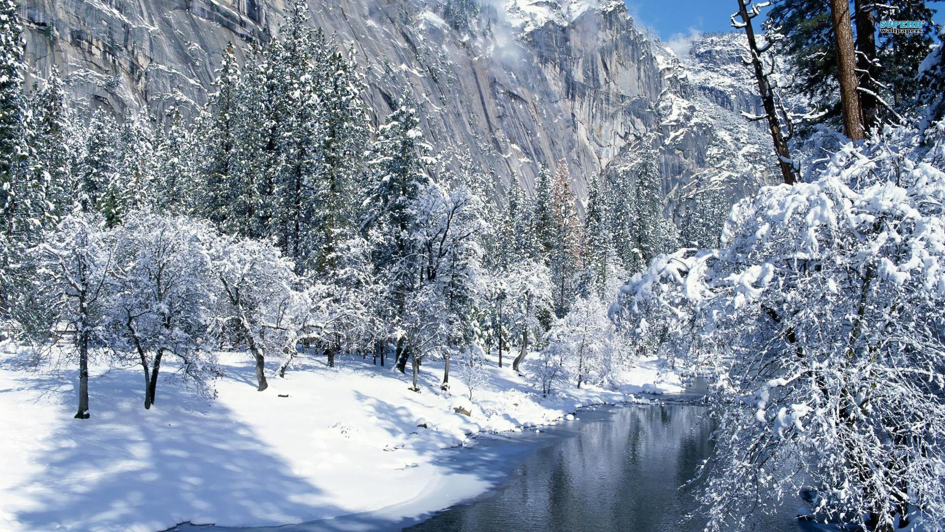 Creek in the snowy mountains wallpaper – Nature wallpapers – #