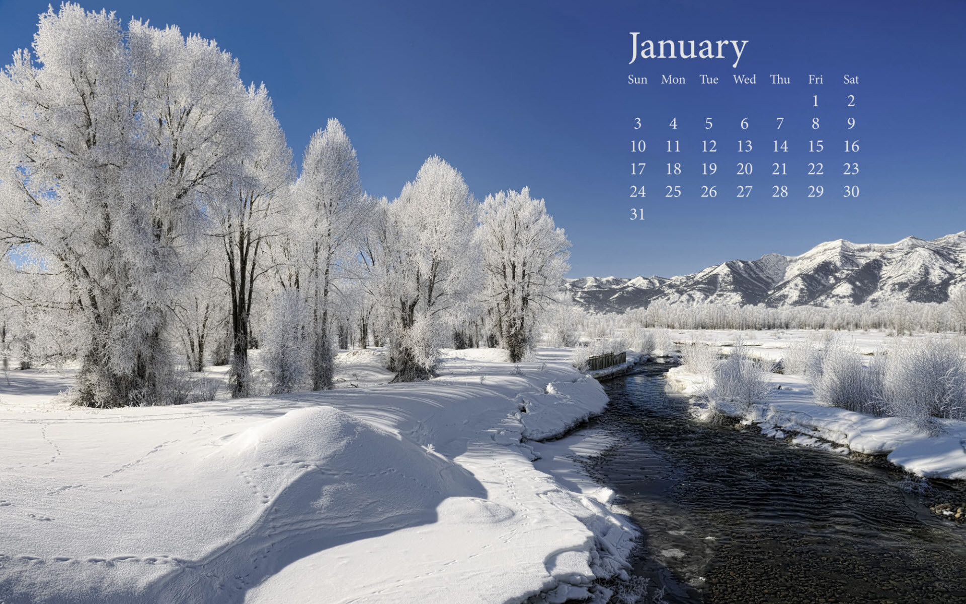 Fresh Snow January 2010 Calender Wallpapers   HD Wallpapers