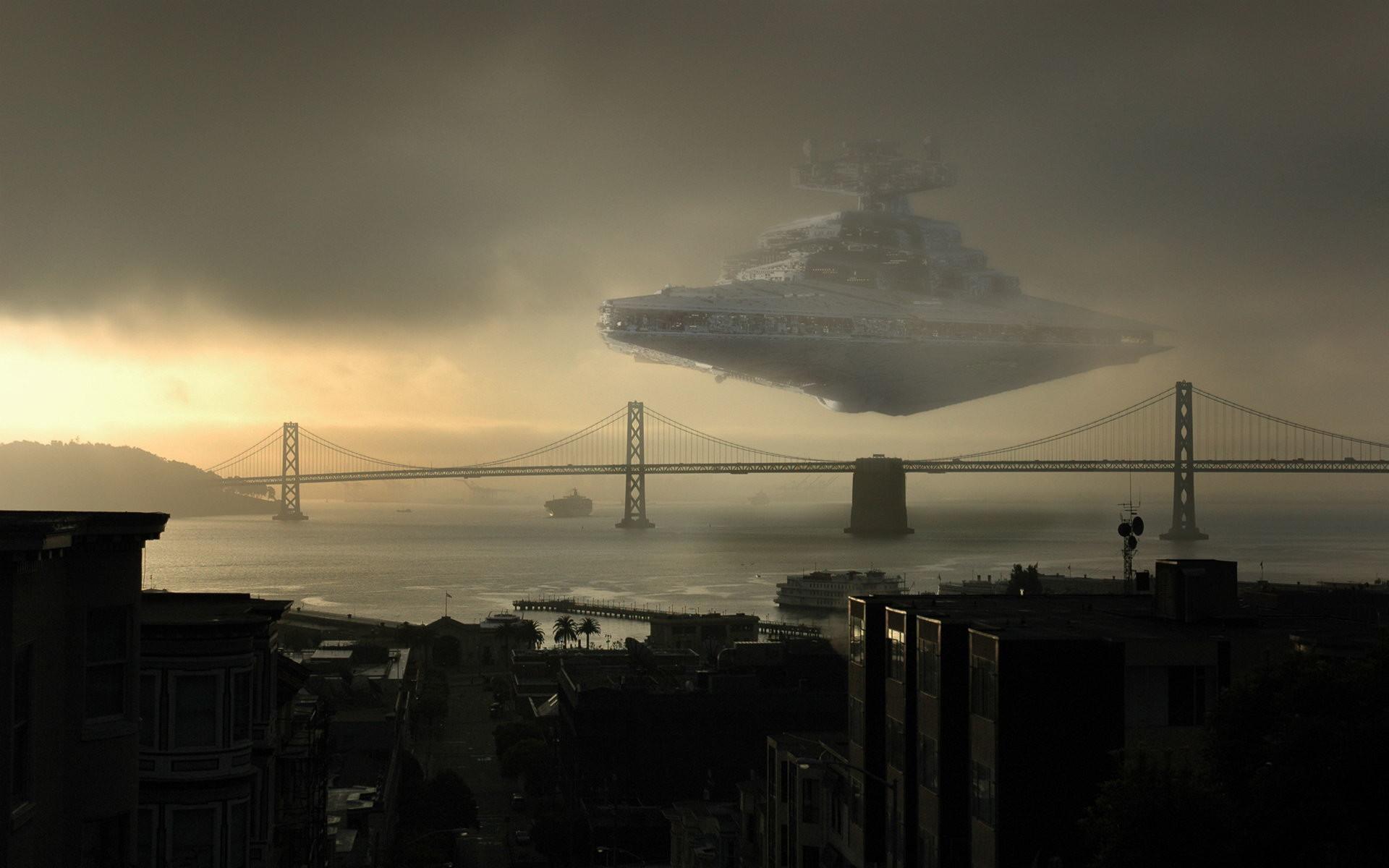 Movie Star Wars Star Destroyer Ship Landing New York Wallpaper