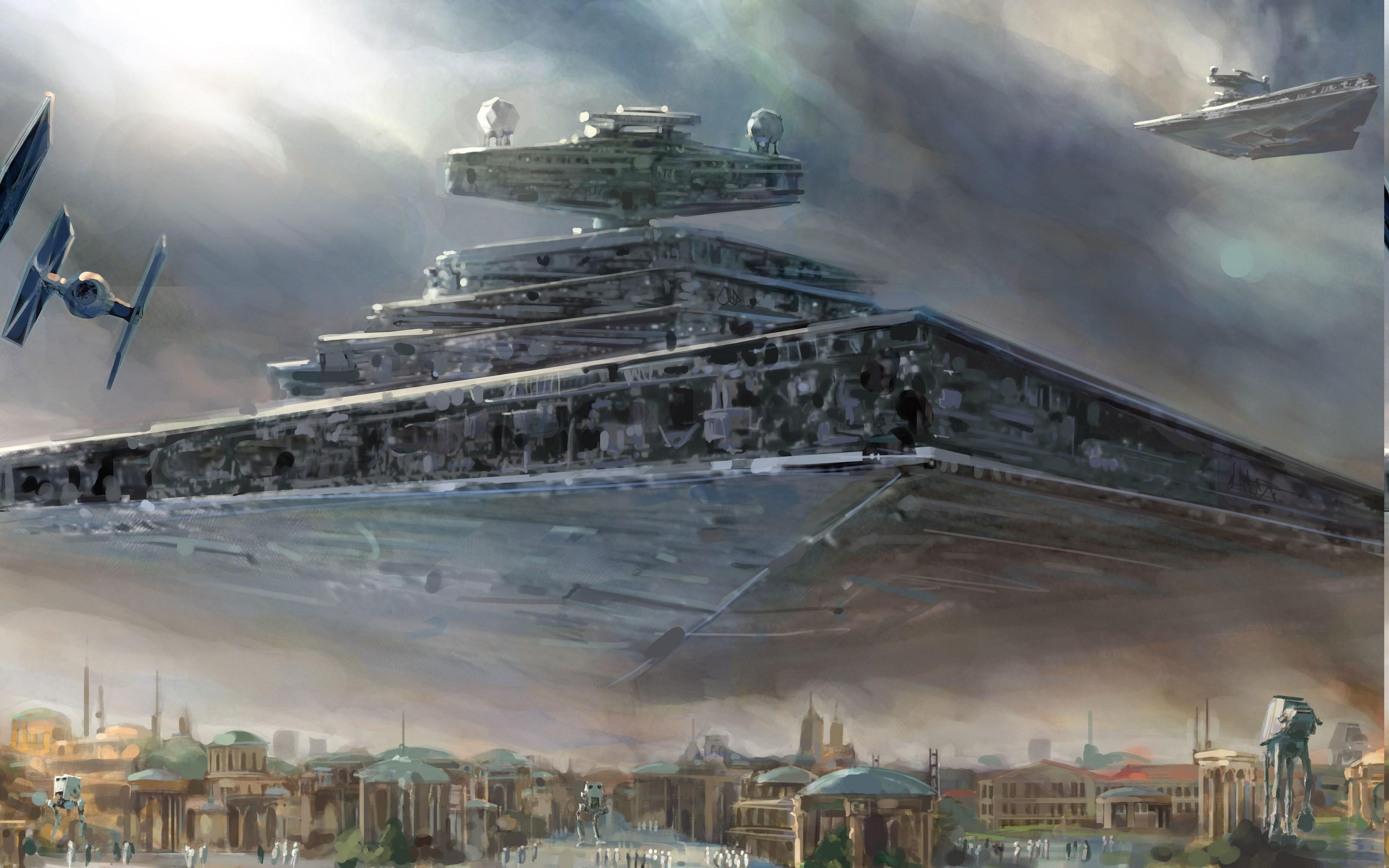 Star Wars, Star Destroyer, Spaceship, TIE Fighter, Painting