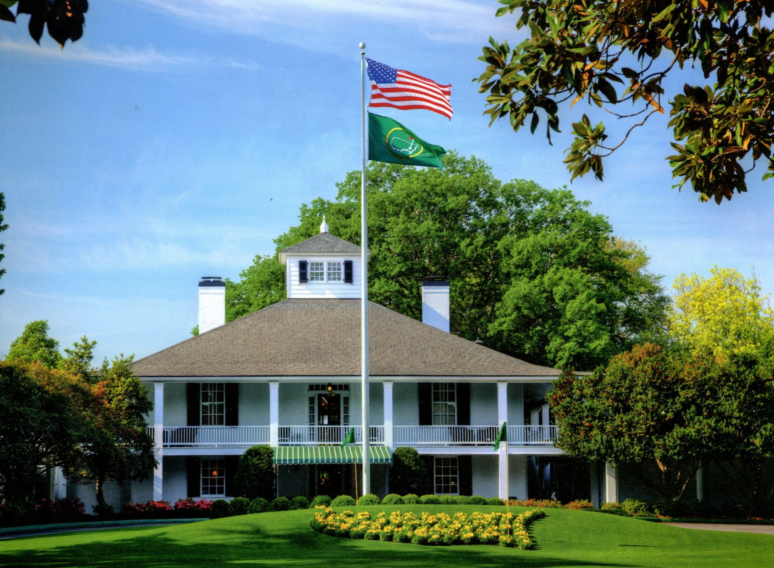 A photo of the club house at Augusta National Golf Club.