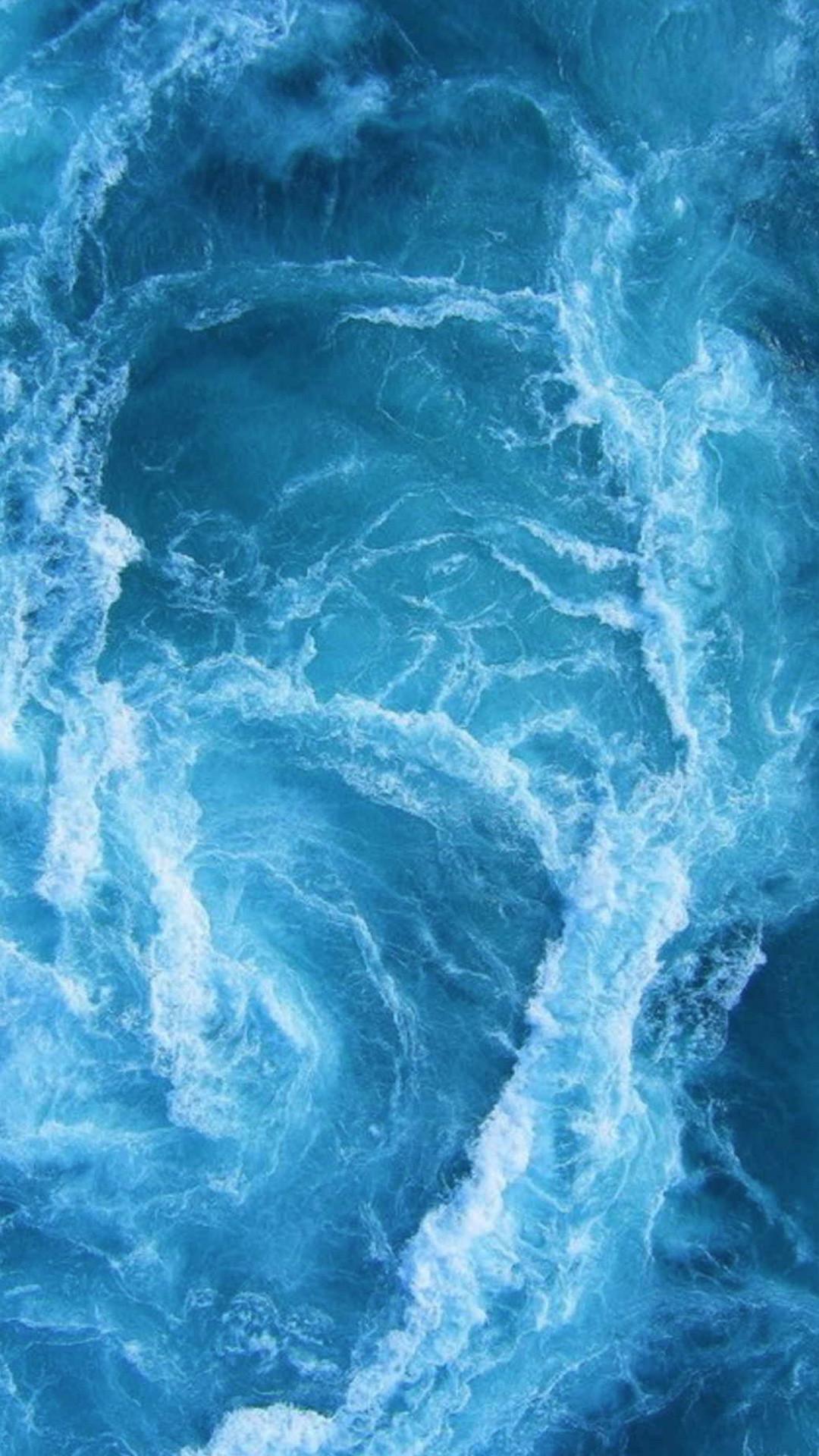 Swirling Blue Ocean Waves iPhone 6+ HD Wallpaper …