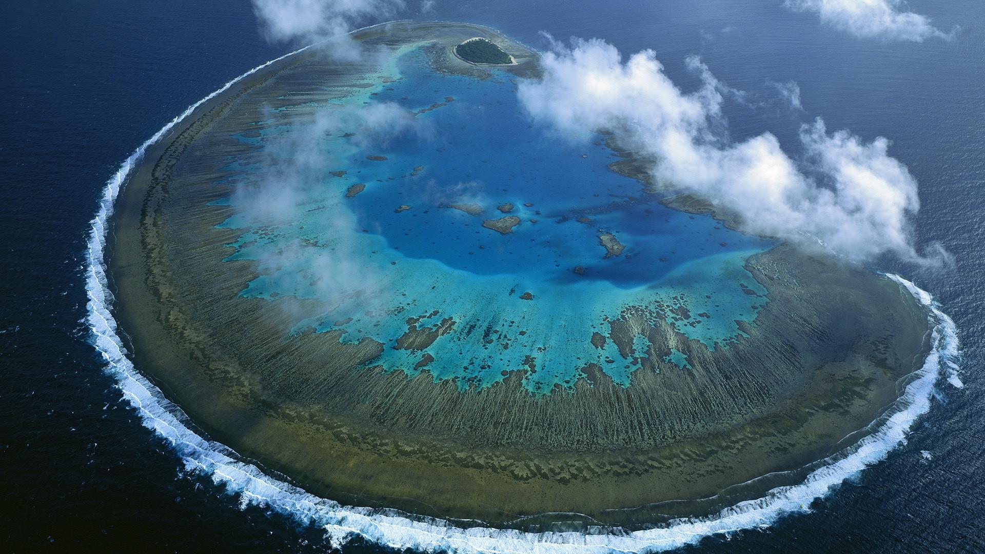 Beautiful nature scenery ocean waves clouds sea wallpaper.