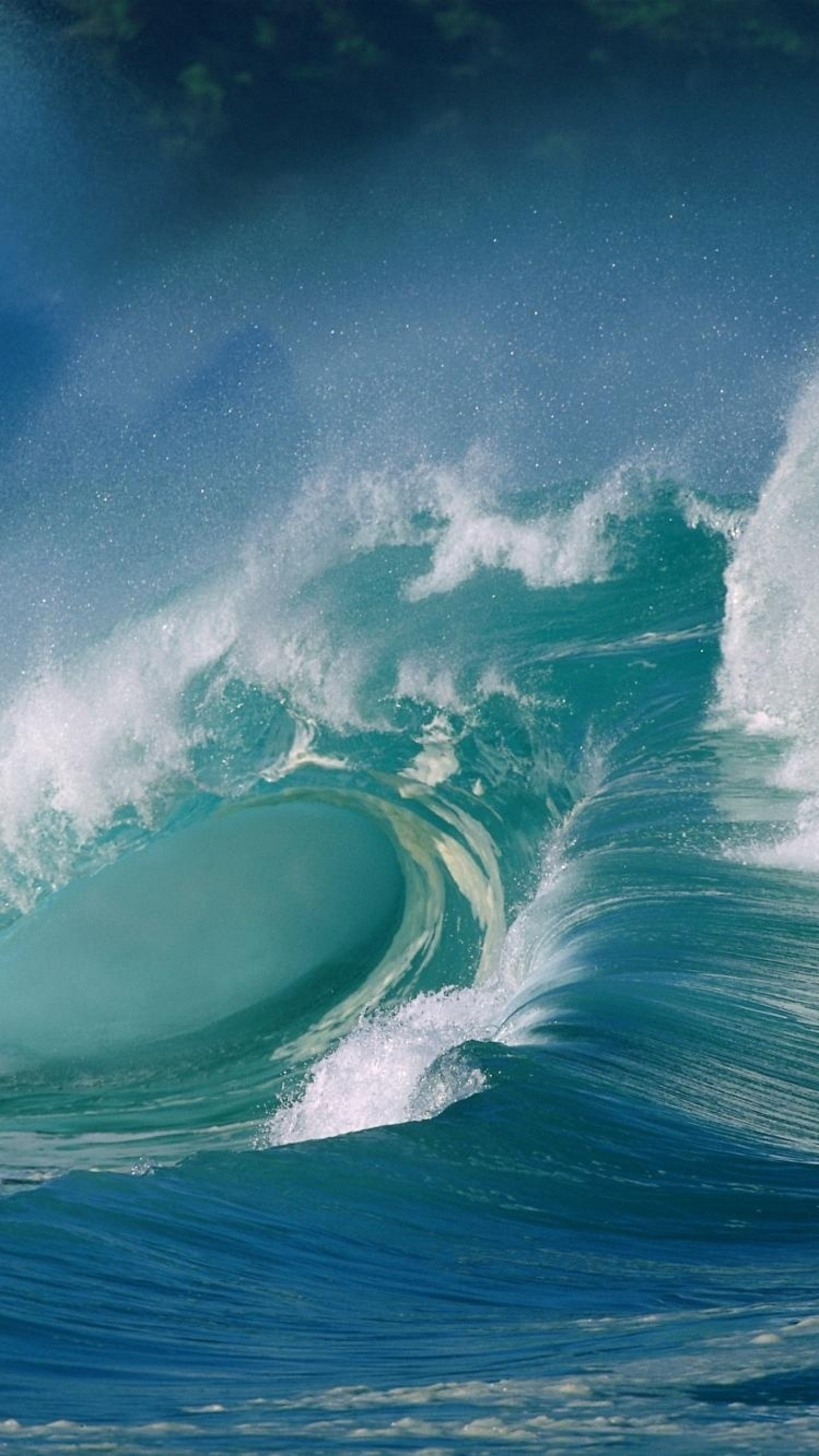 Preview wallpaper wave, ocean, splash, sea, force, splashes 1440×2560