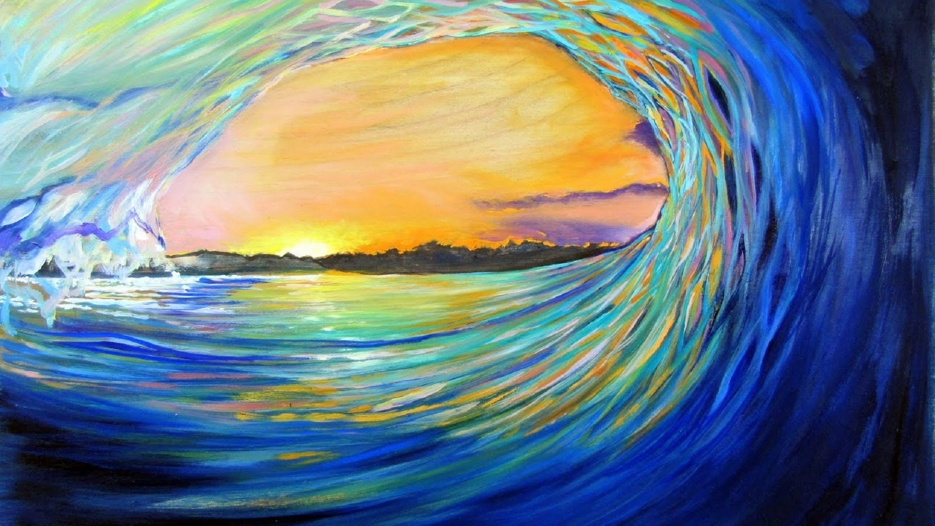 Artistic – Wave Artistic Ocean Sea Painting Sun Sunset Wallpaper