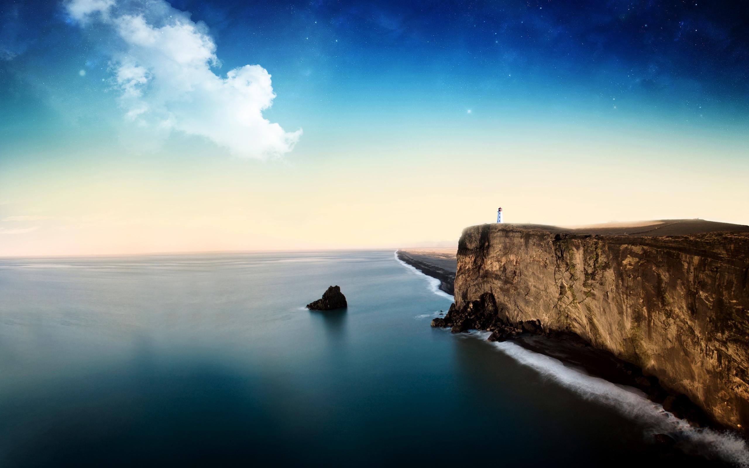 Wonderful landscape – lighthouse on a huge rock. Beautiful Water Scenes  Wallpapers . Awsome Landscape