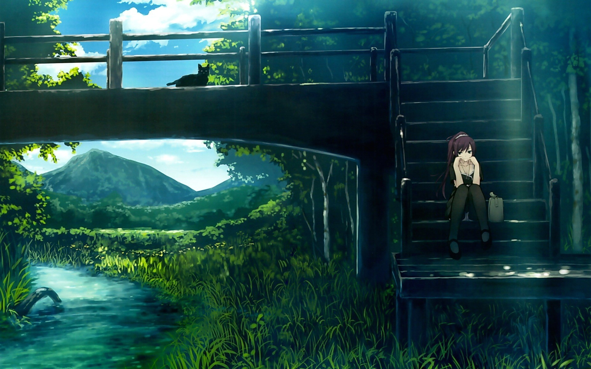 Anime Nature scenery Wallpaper bridge river