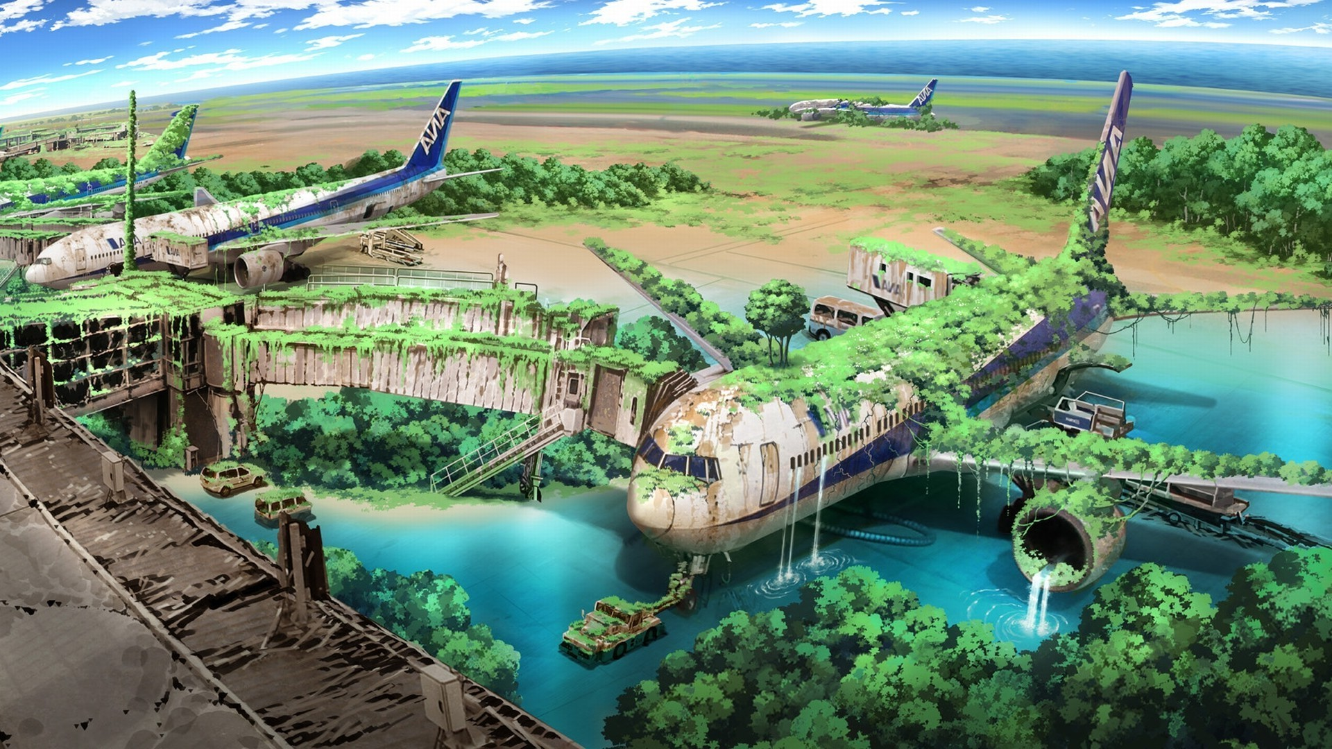 apocalyptic, Airplane, Nature, Anime, Aircraft, Drawing Wallpapers HD /  Desktop and Mobile Backgrounds