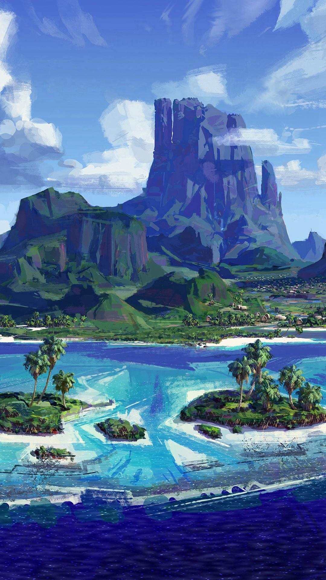Sea Anime Paint Summer Illustration Art iPhone 8 wallpaper