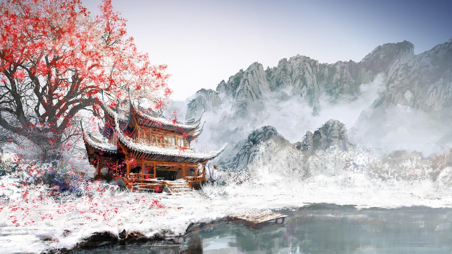Fantasy Landscape Winter Sakura Blossom Wallpaper