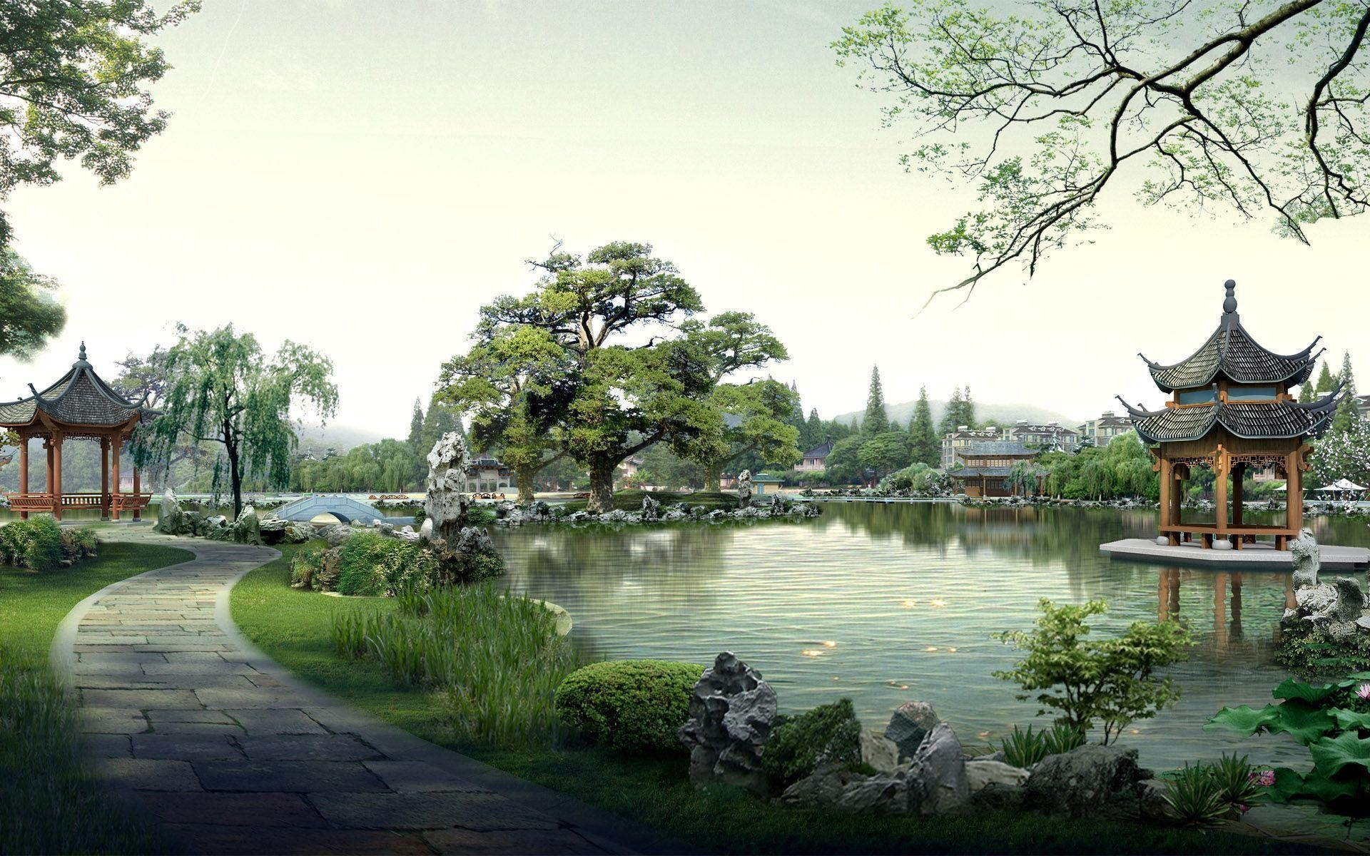 Images For > Japanese Landscape Art Wallpaper