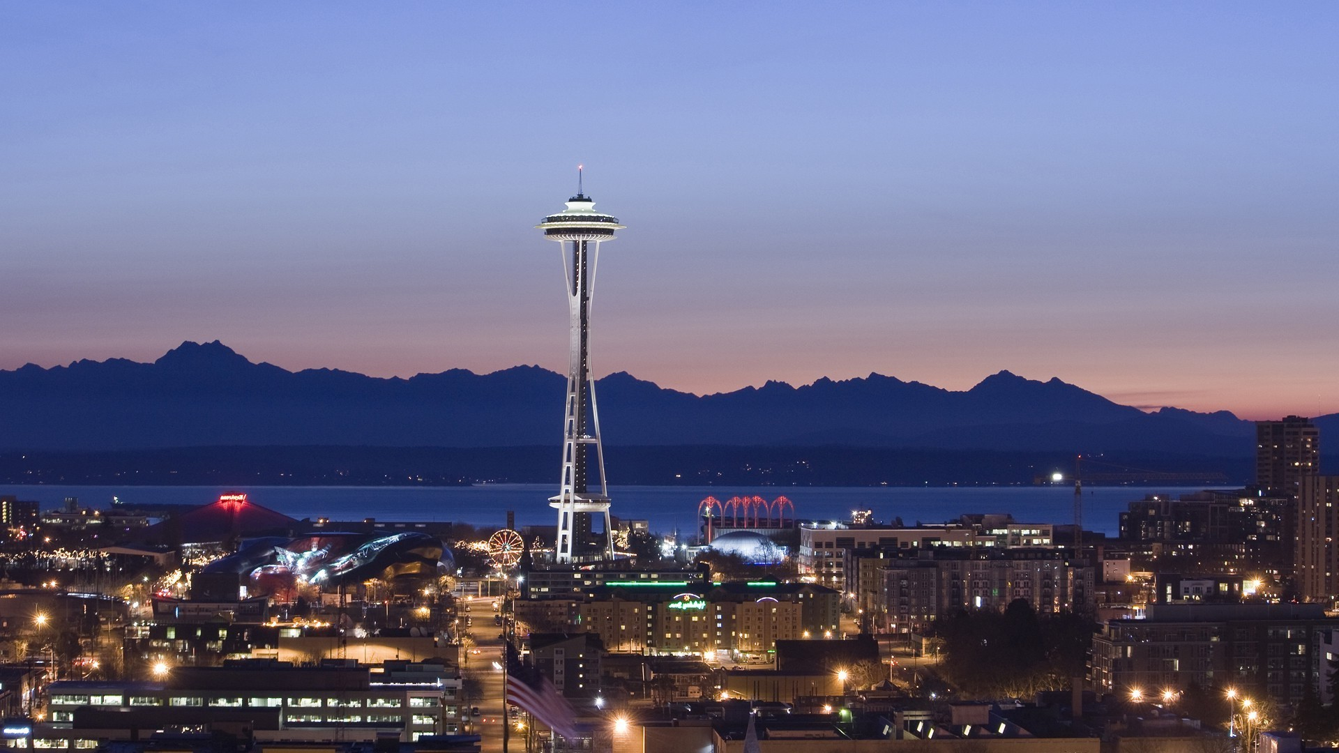 Seattle, Space Needle, Pacific Northwest, USA, Washington State, City,  Sunset, Lights, Evening Wallpapers HD / Desktop and Mobile Backgrounds