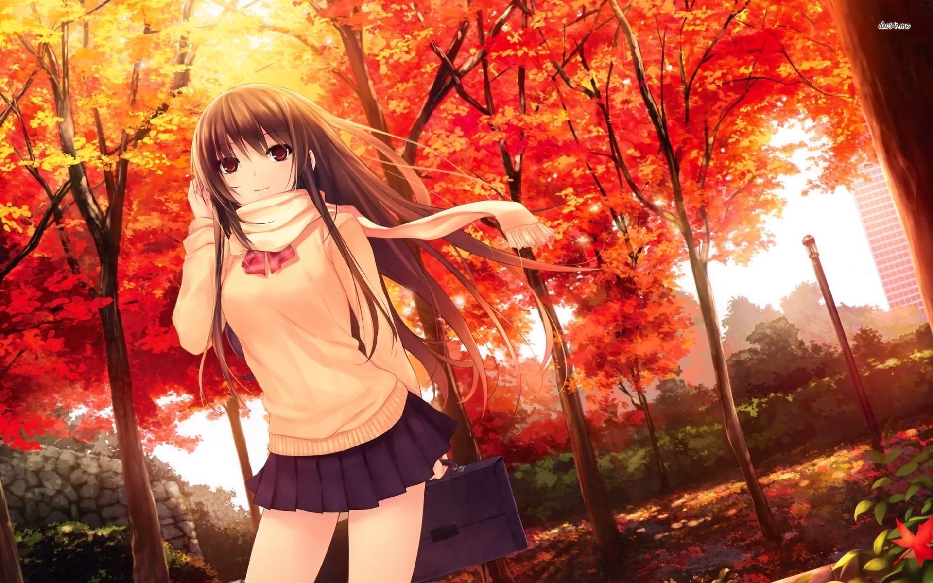 Girl in the autumn park Anime HD desktop wallpaper, Park wallpaper, Woman  wallpaper – Anime no.