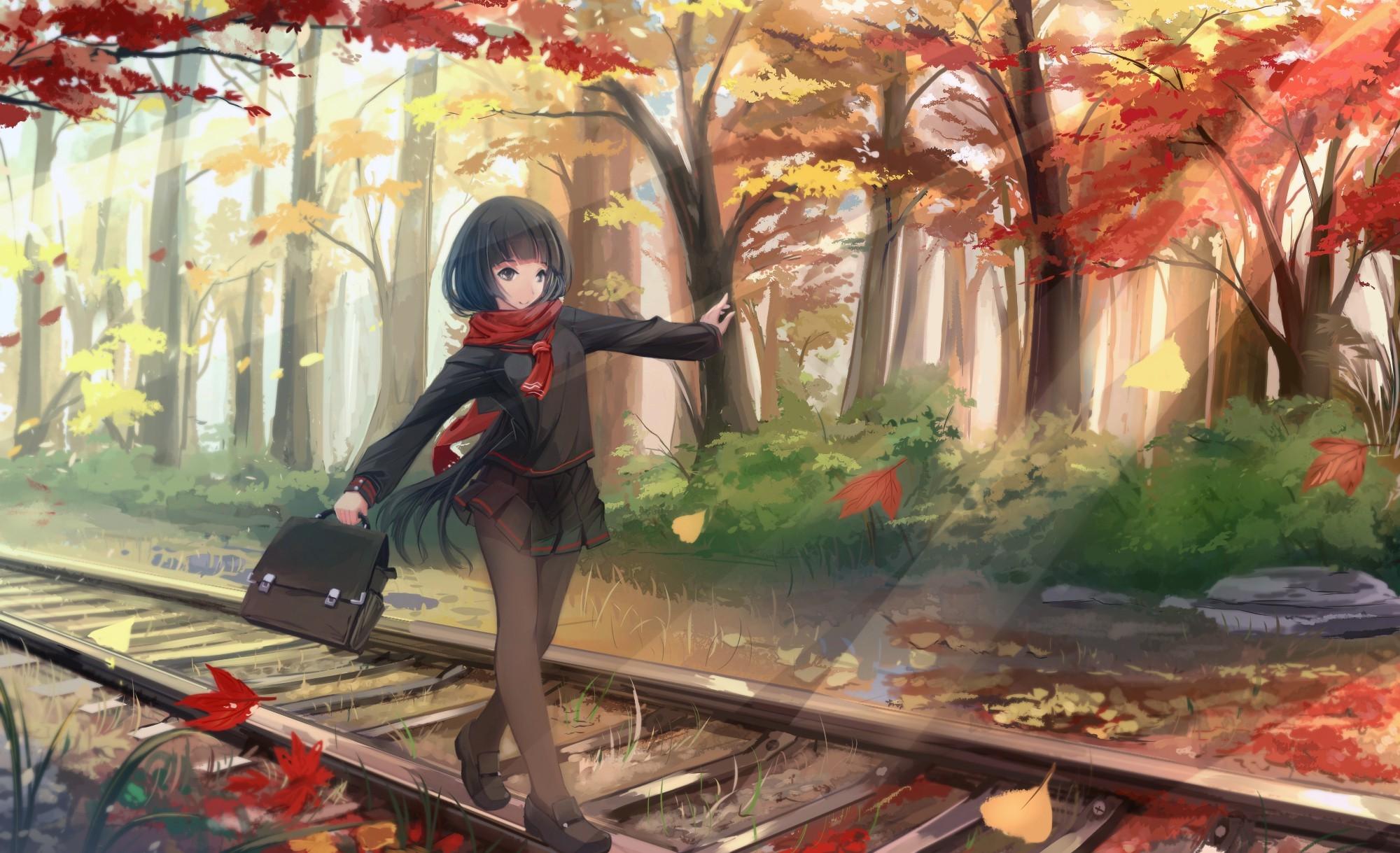 anime Girls, Original Characters, Fall, Black Hair, Scarf, Leaves, Long  Hair, Pantyhose, School Uniform, Trees Wallpapers HD / Desktop and Mobile  …