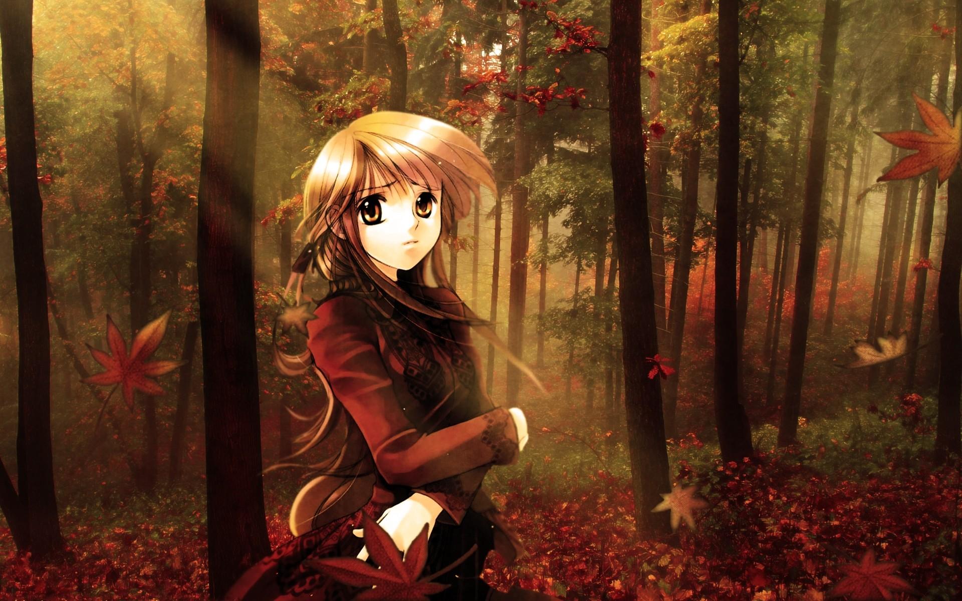 Anime Girl Autmn Fall HD Widescreen Desktop Wallpaper