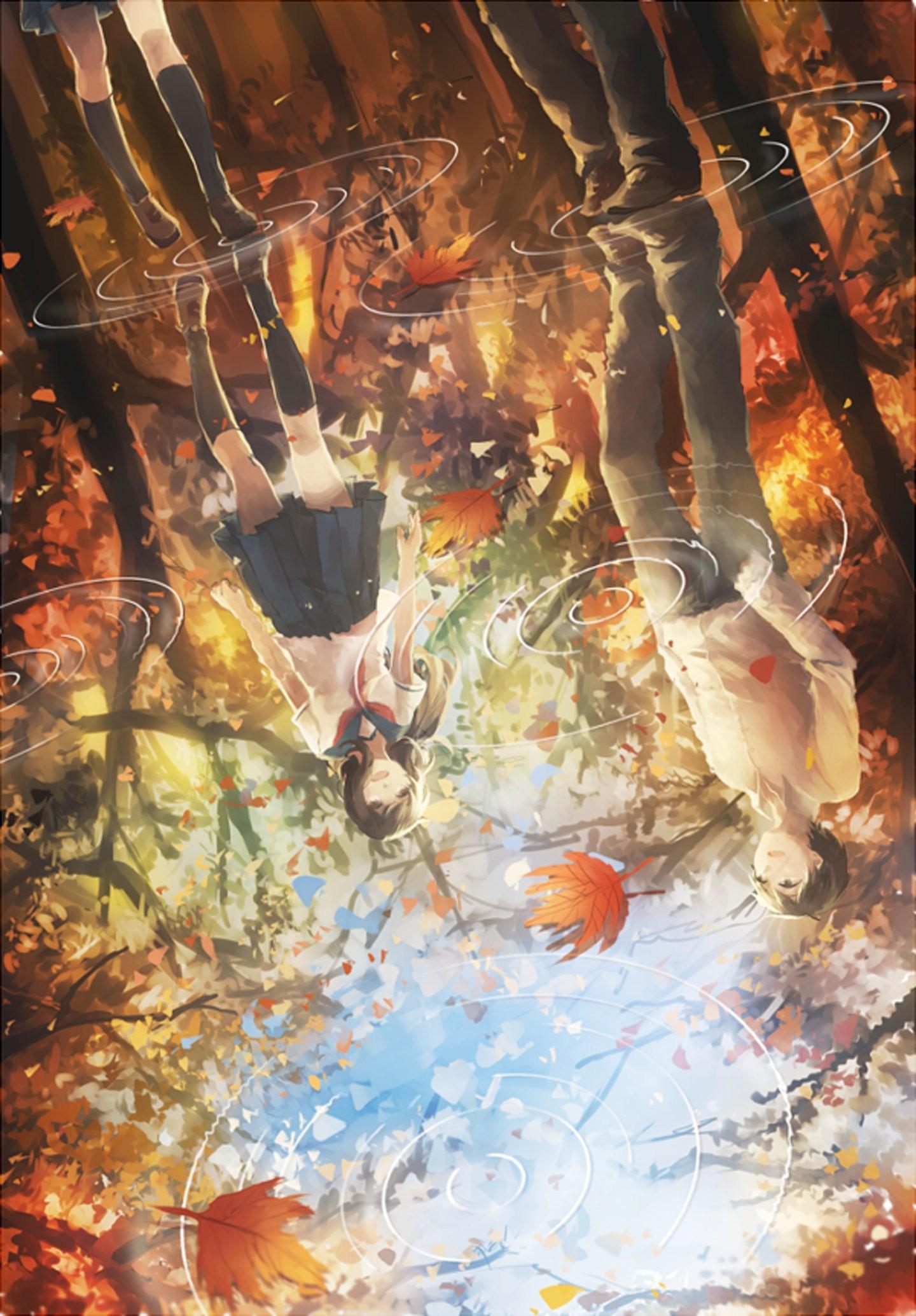 Leaves water rain couple anime girl guy autumn wallpaper      826765   WallpaperUP