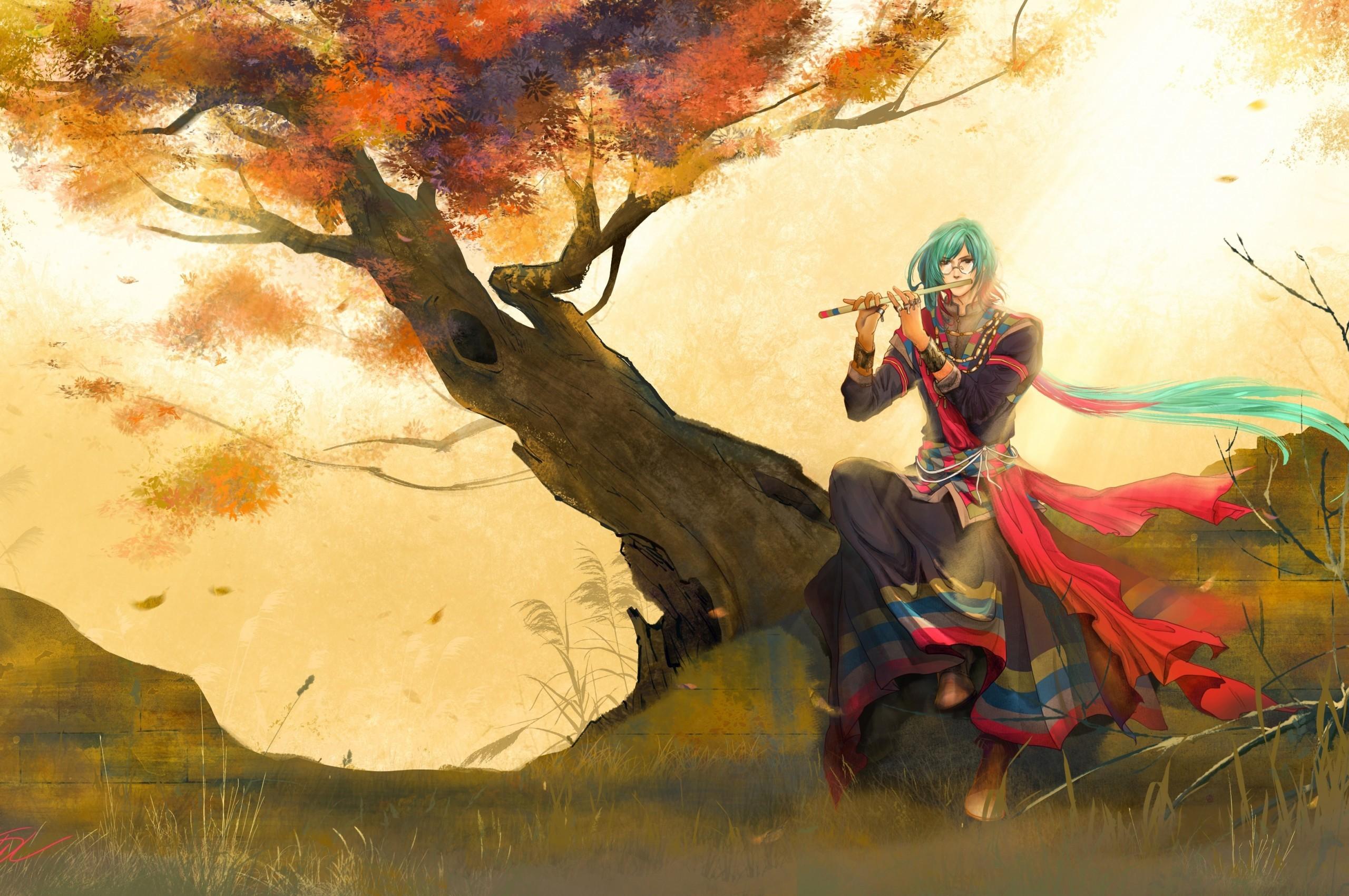 Anime Boy, Flute, Oriental, Fall, Long Hair, Tree, Scenic,