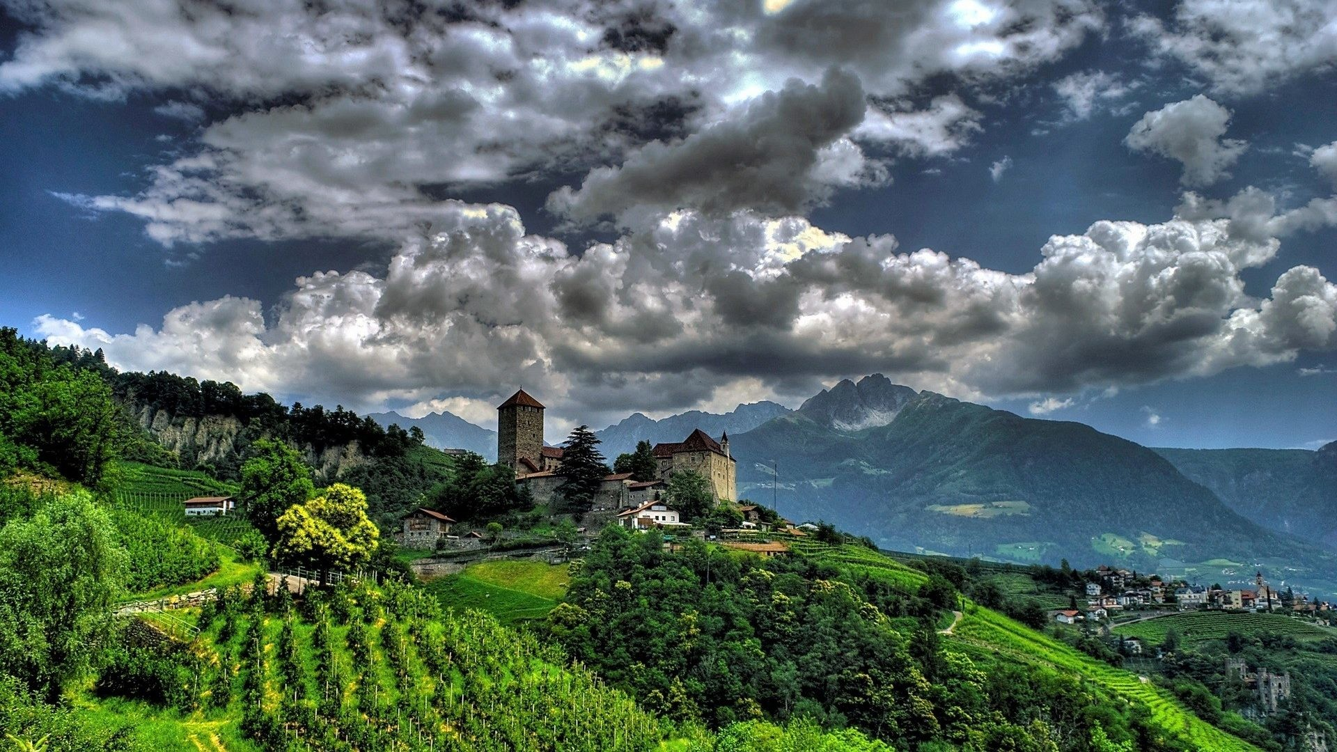 Mountains – Mountains Mountain Nature Italy Village Villages Clouds  Wallpapers 4k for HD 16:9