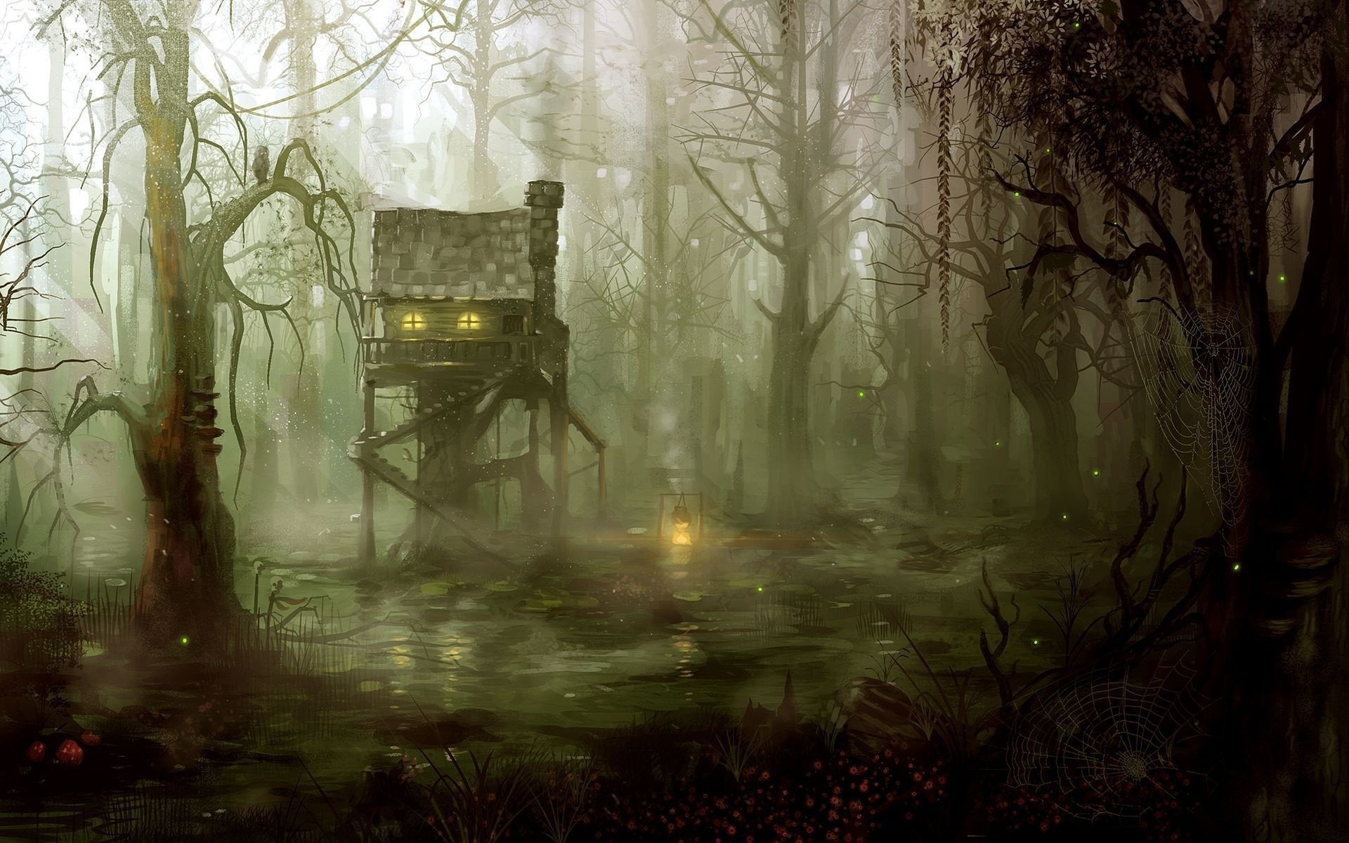 Fantasy art artistic drawing painting dark spooky architecture buildings  houses swamp jungle forest trees fire flames