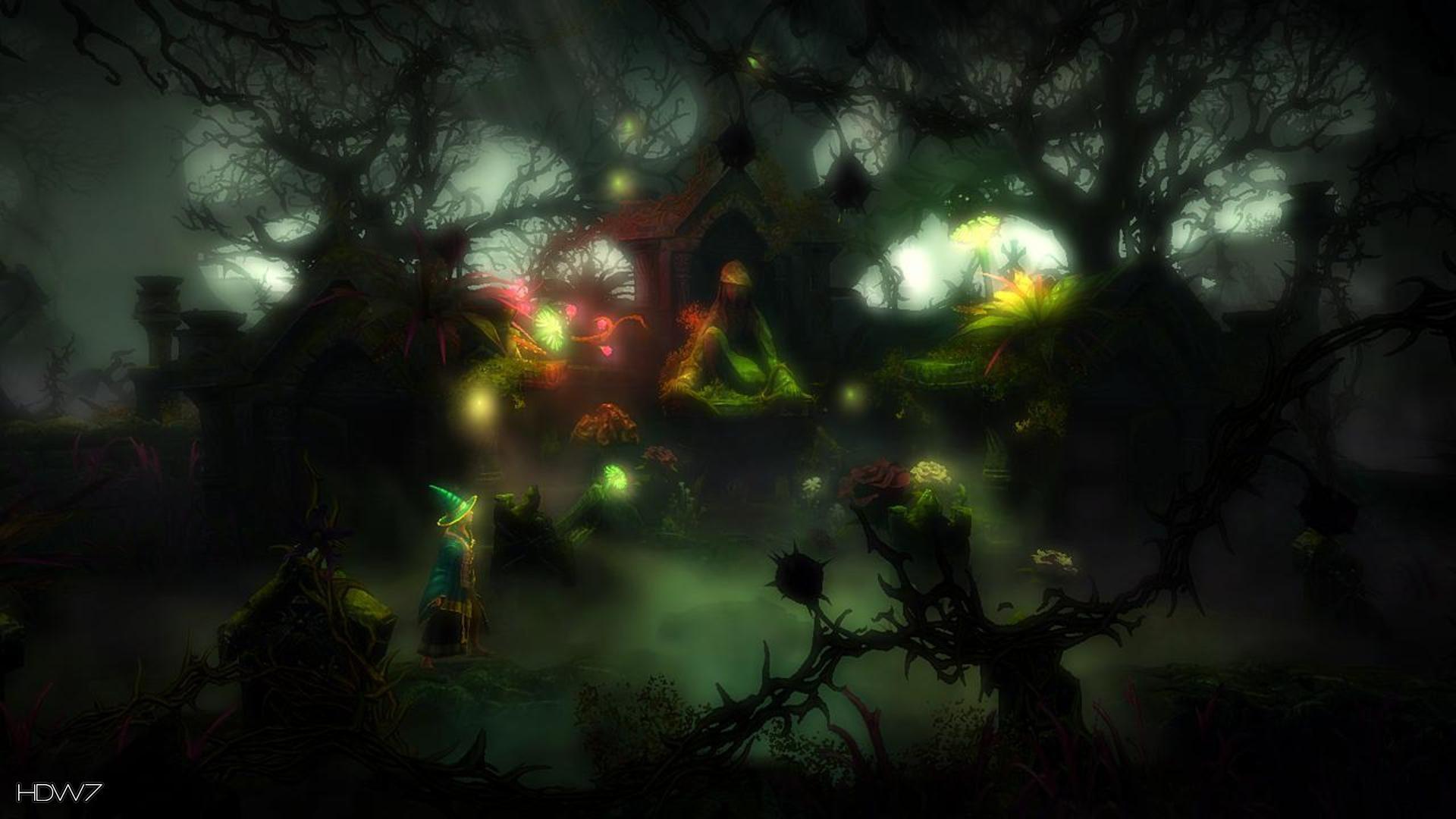trine 2 wizard spooky forest widescreen hd wallpaper
