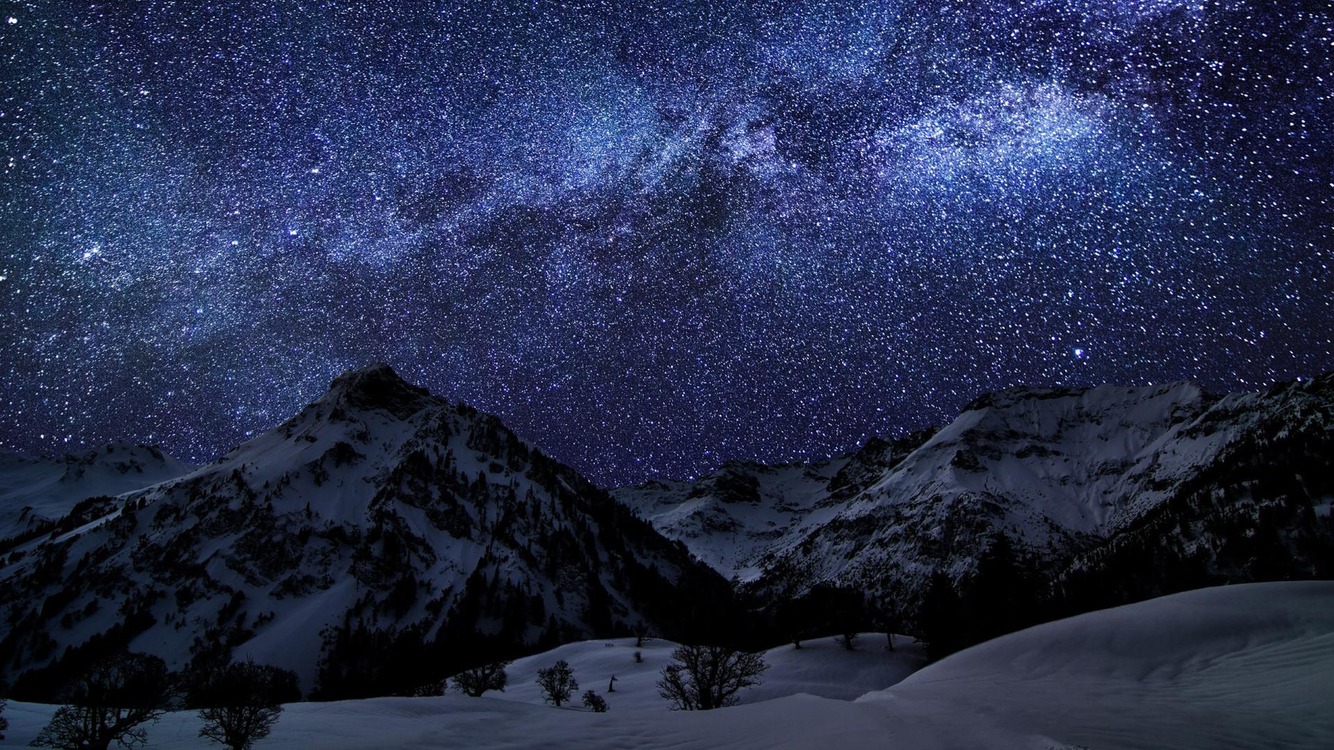 Winter Stars Sky Night Mountains Desktop Wallpaper