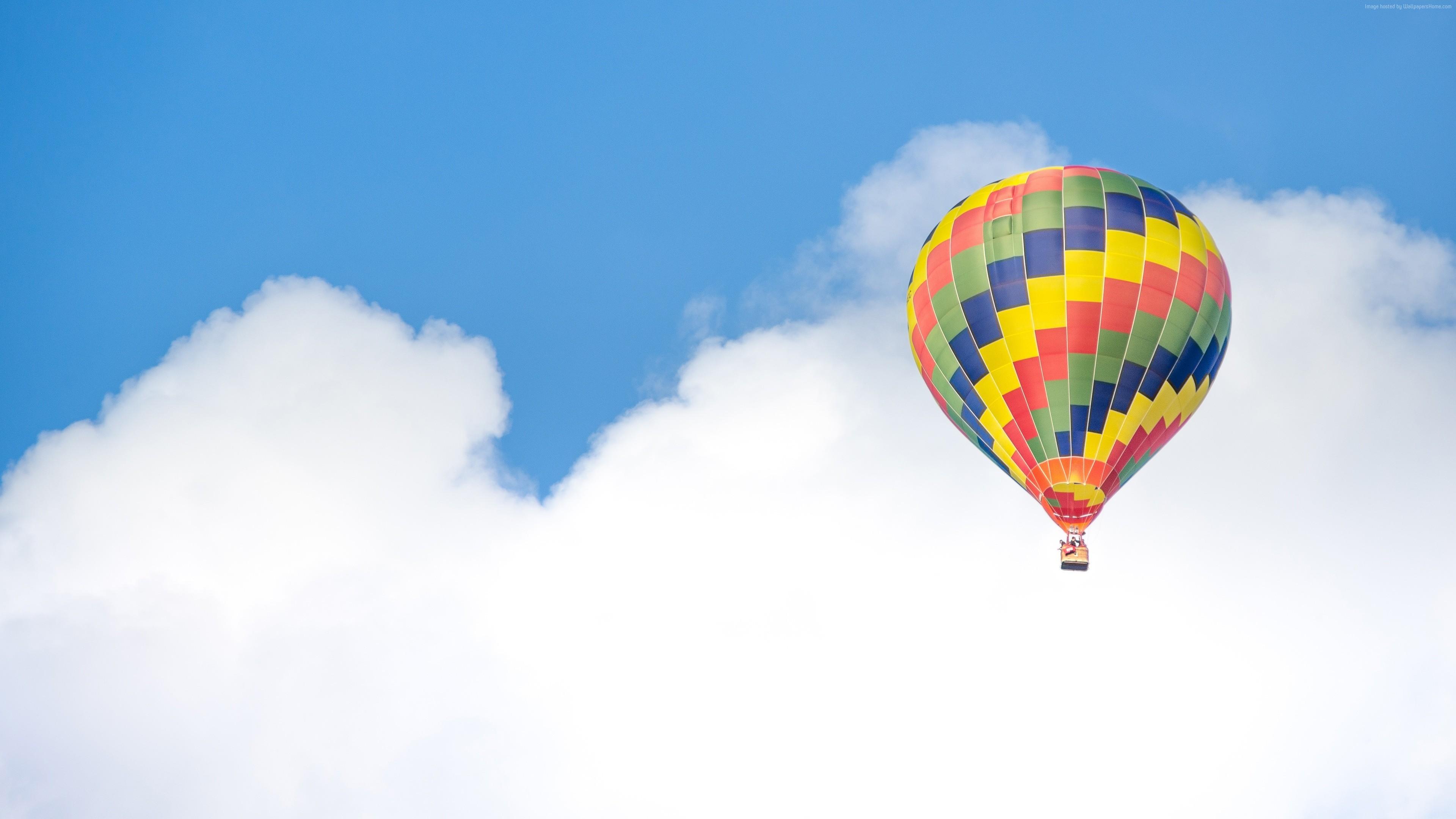 Balloon, 5k, 4k wallpaper, ride, blue, sky, clouds (horizontal …