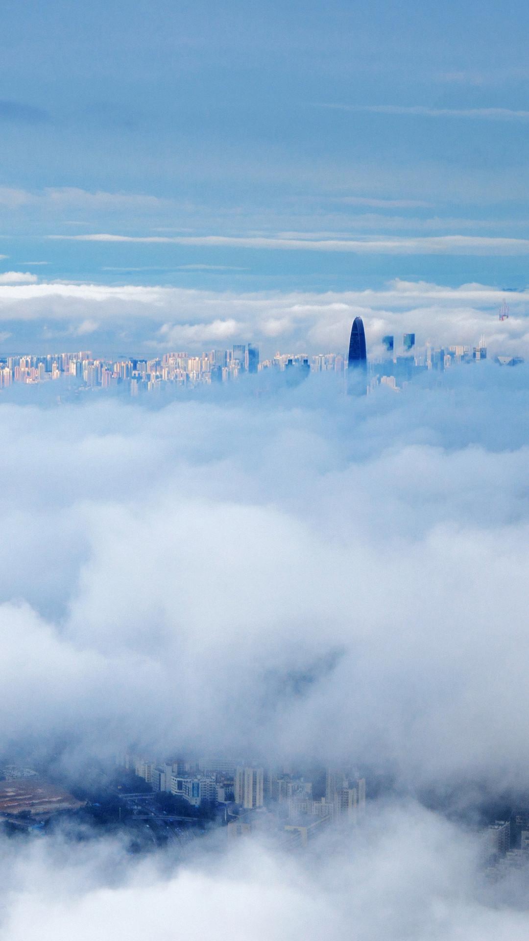 City In Fog Cloud Nature Sky iPhone 6 wallpaper
