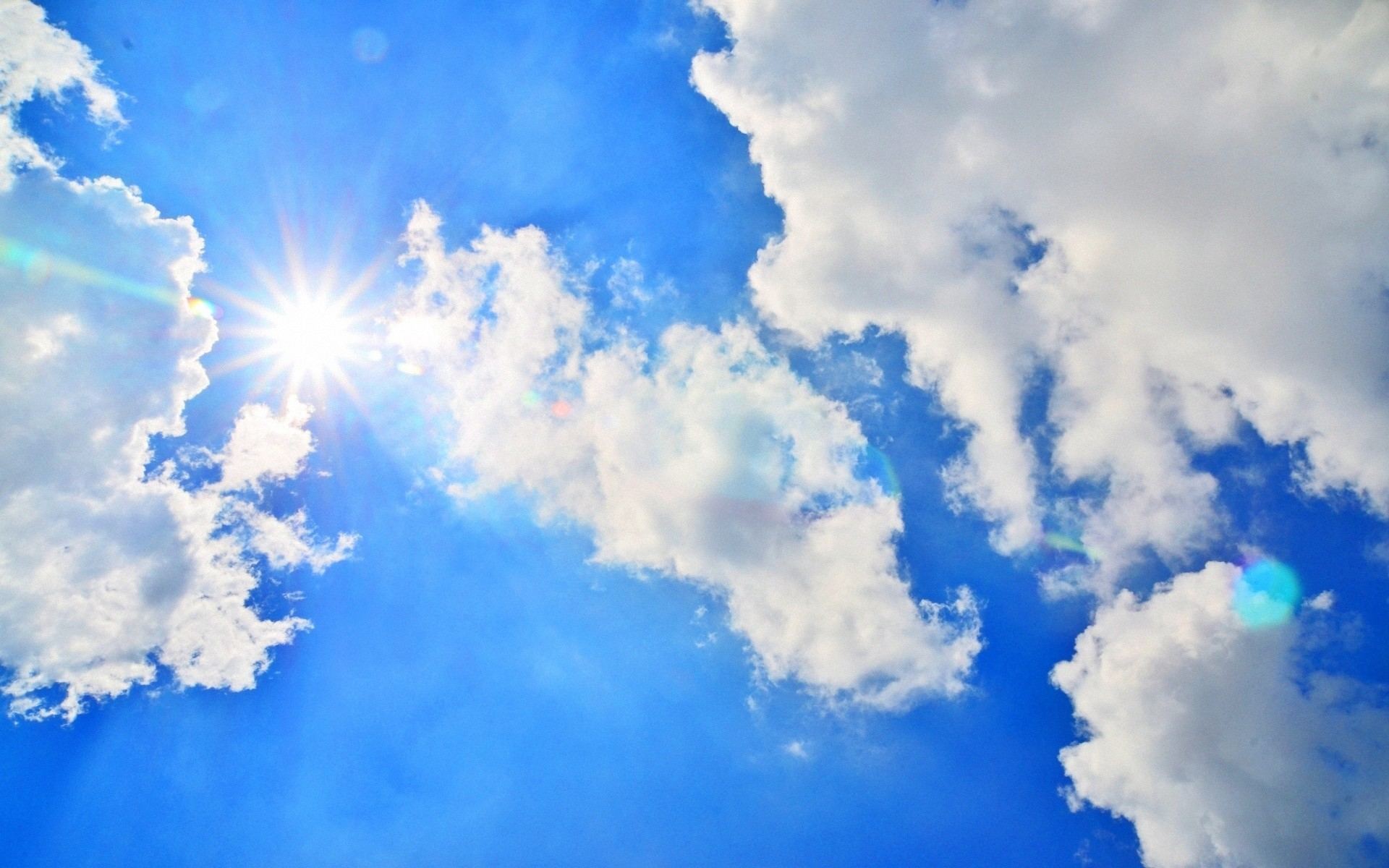 Download Blue sky, Sun, Light, Clouds, Day, Air Wallpaper, Background