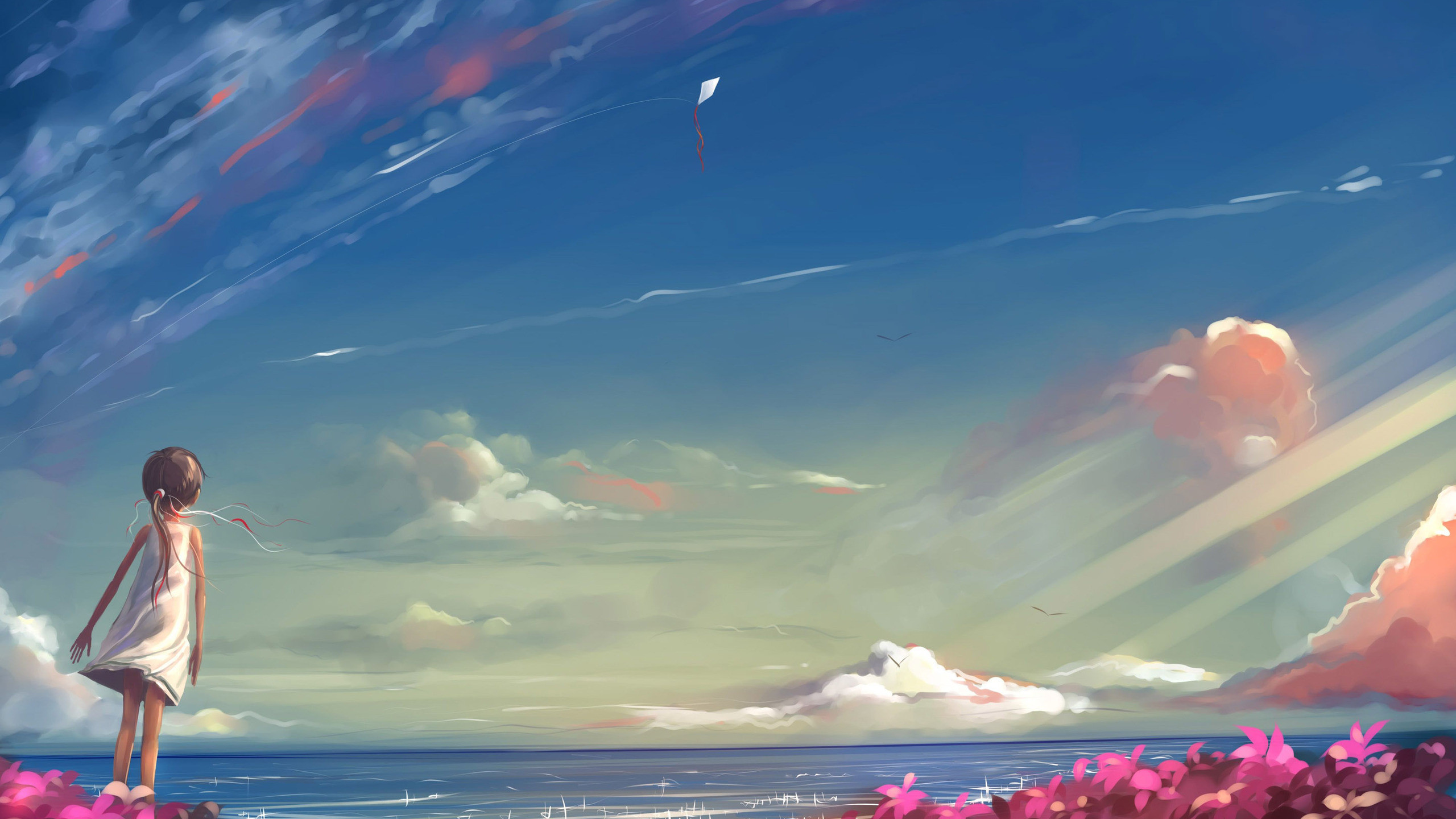 Anime Girl Anime Clouds Anime Sky Wallpaper
