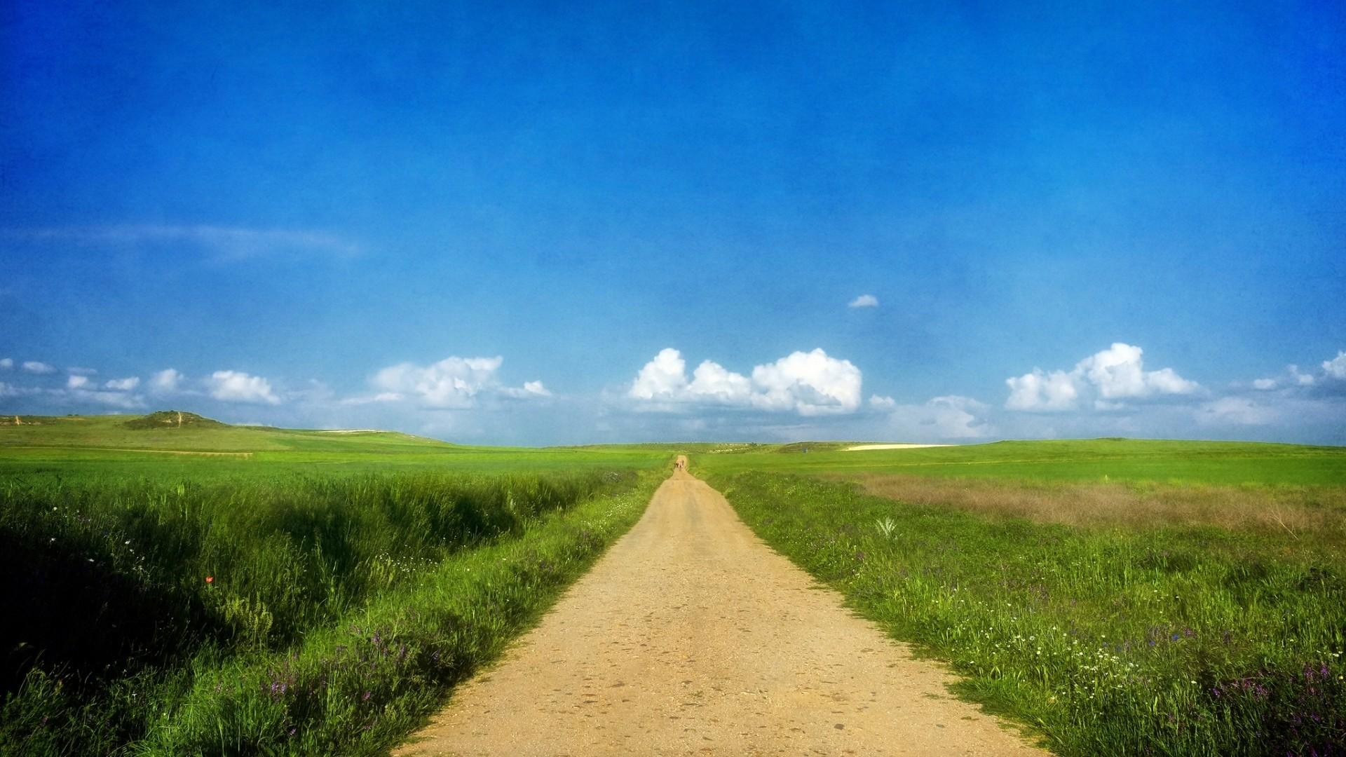 Wallpaper road, grass, summer, sun, sky, clouds