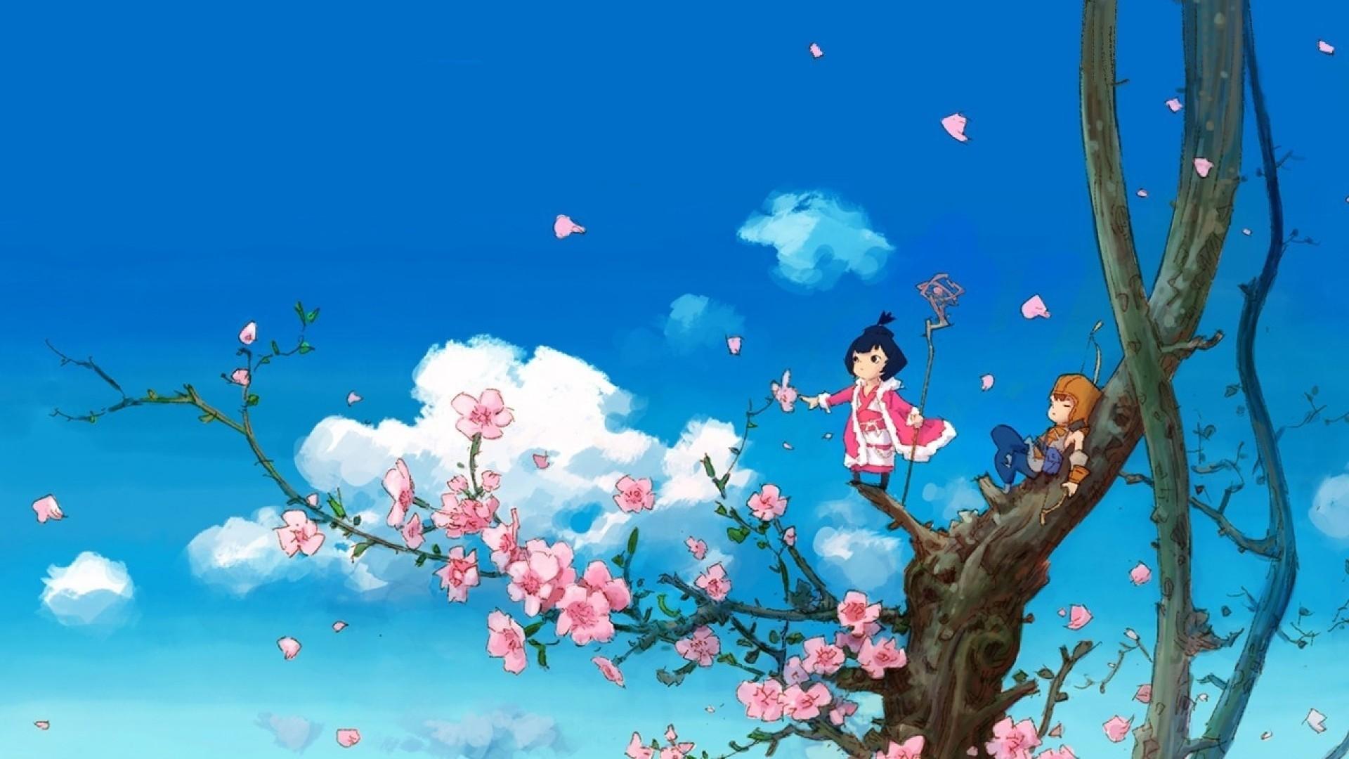 Wallpaper anime, tree, sky, clouds