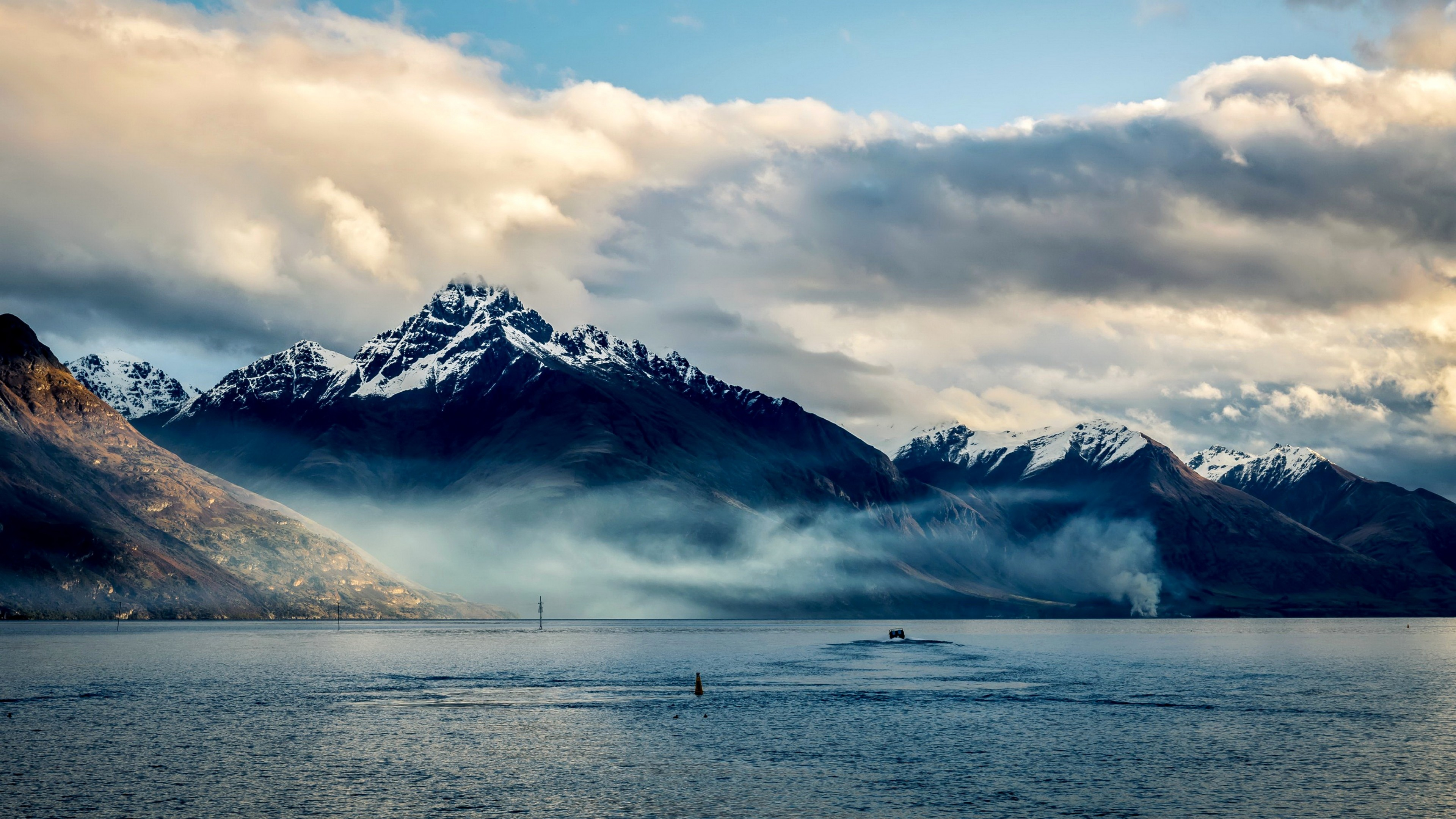 Wallpaper new zealand, sea, mountains, sky, clouds