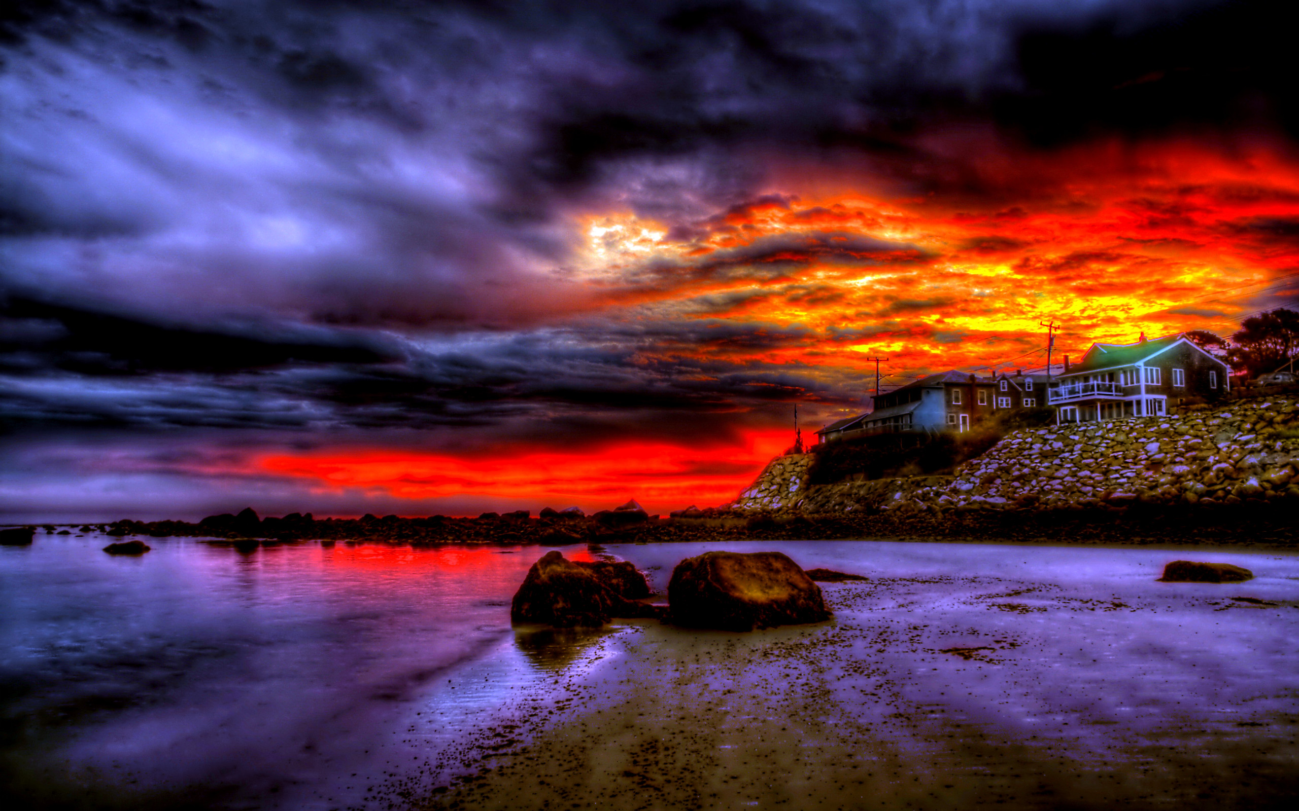 Beaches: Beautiful Sky Colorful Light Ocean Peaceful Building Stormy Waves  Amazing Sea Sunset Storm Colors Splendor Sand Nature Houses Reflection  Beauty …