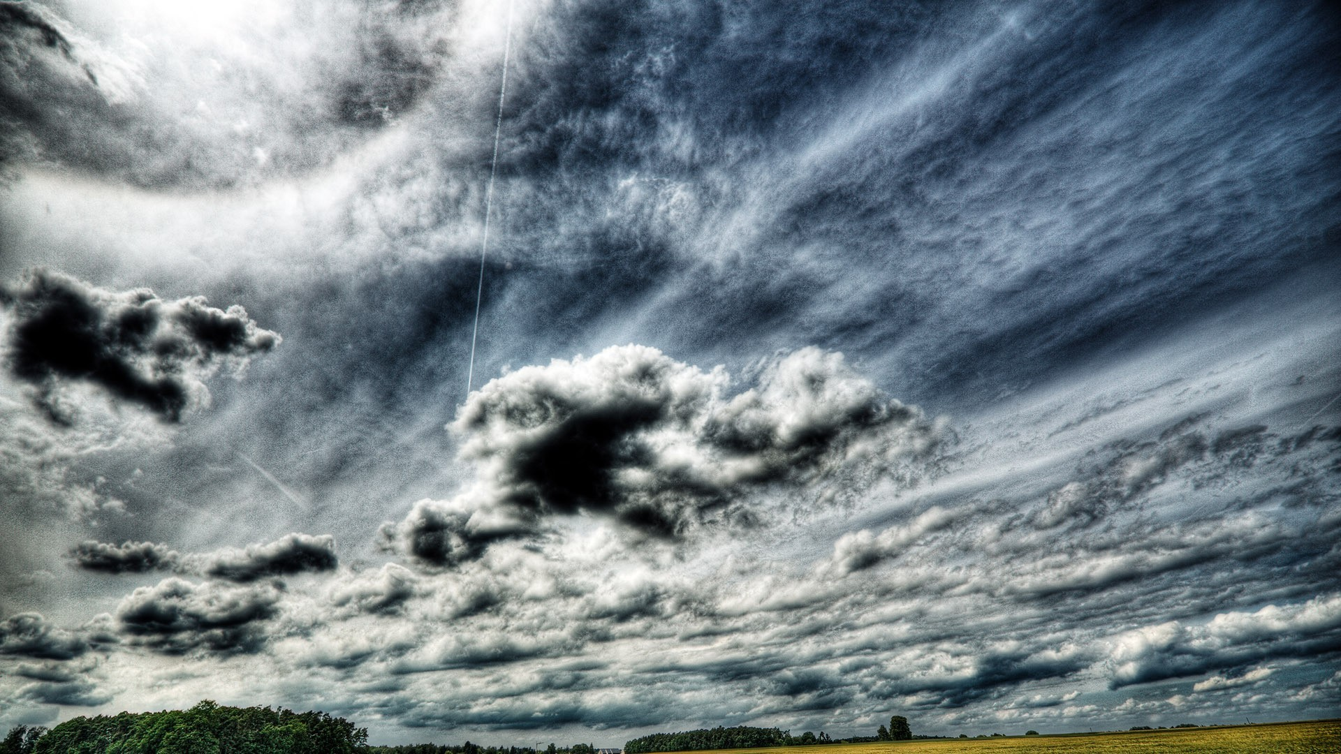Download Sky Fields Trees Glorious Clouds Stormy Skies Wallpaper
