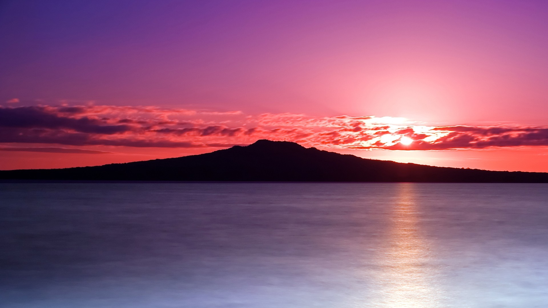 Purple Reflection Sun Sky Pink Clouds Sea Sunrise Sunset Island Stormy  Skies Wallpaper