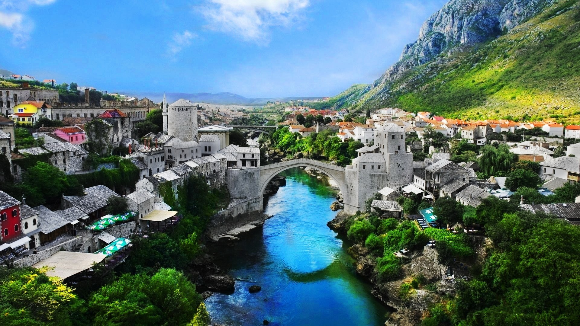 Preview wallpaper bosnia and herzegovina, mostar old town, mostar, nature,  landscape 1920×1080