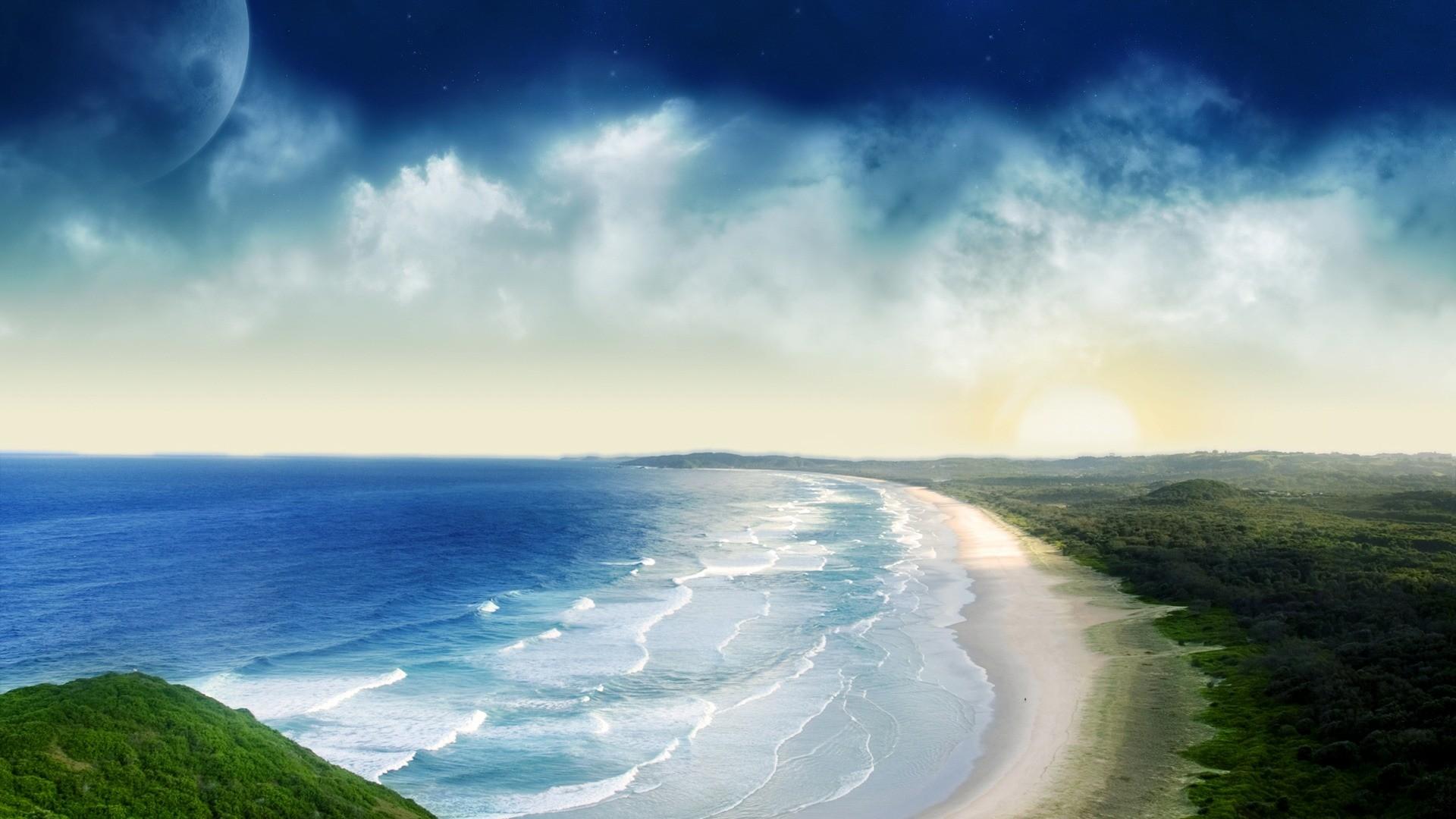 Coastal Sunset Wallpaper Photo Manipulated Nature Wallpapers
