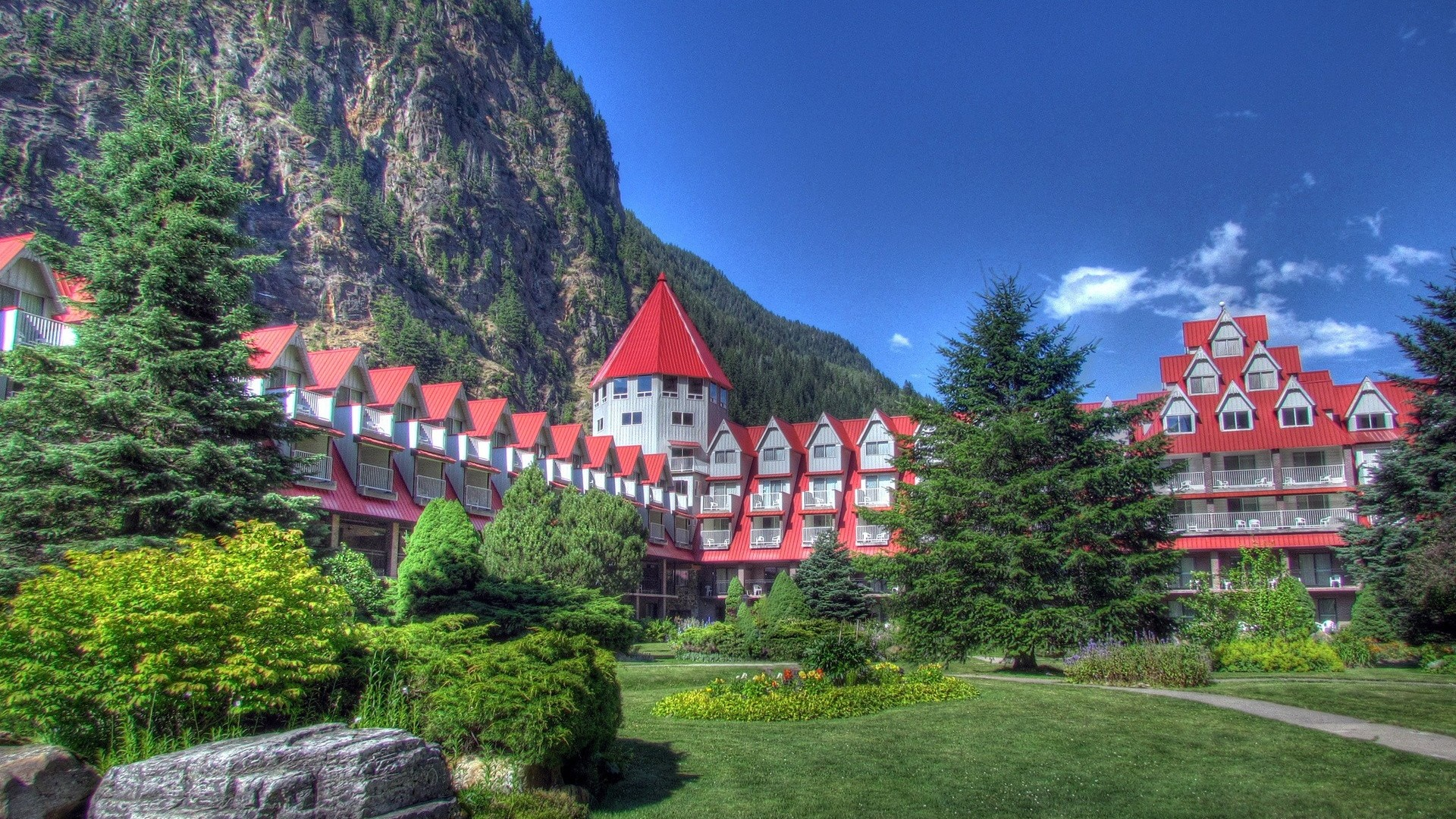 Preview wallpaper hotel, canmore, canada, nature 1920×1080