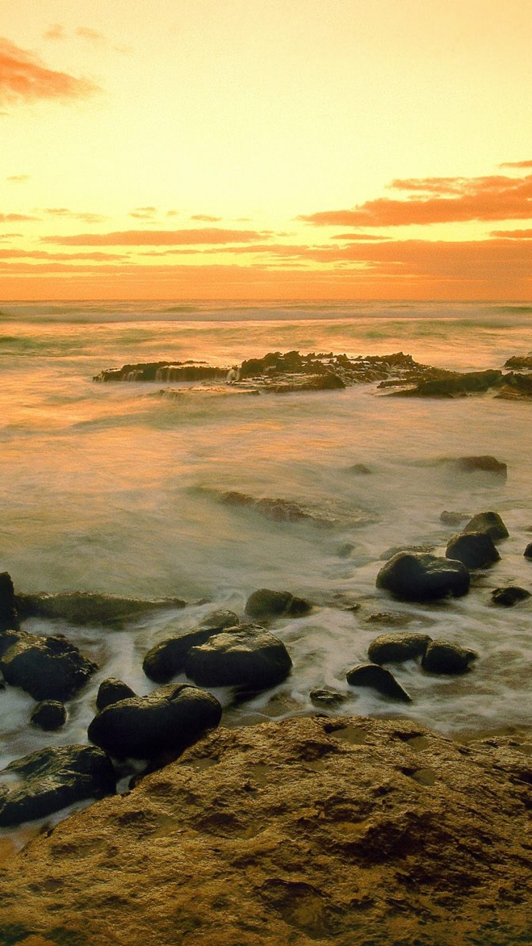 Preview wallpaper hawaii, morning, sea, sand, stones 1080×1920