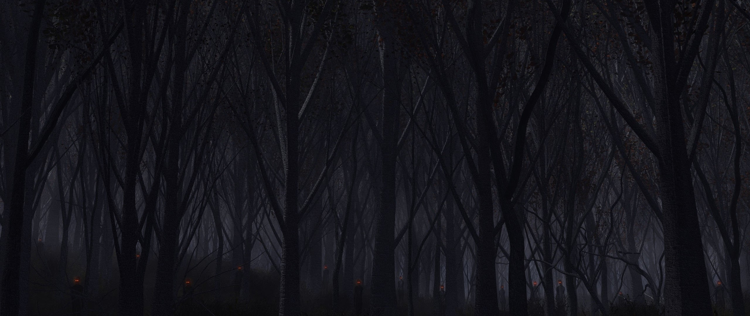 Preview wallpaper forest, trees, background, dark 2560×1080