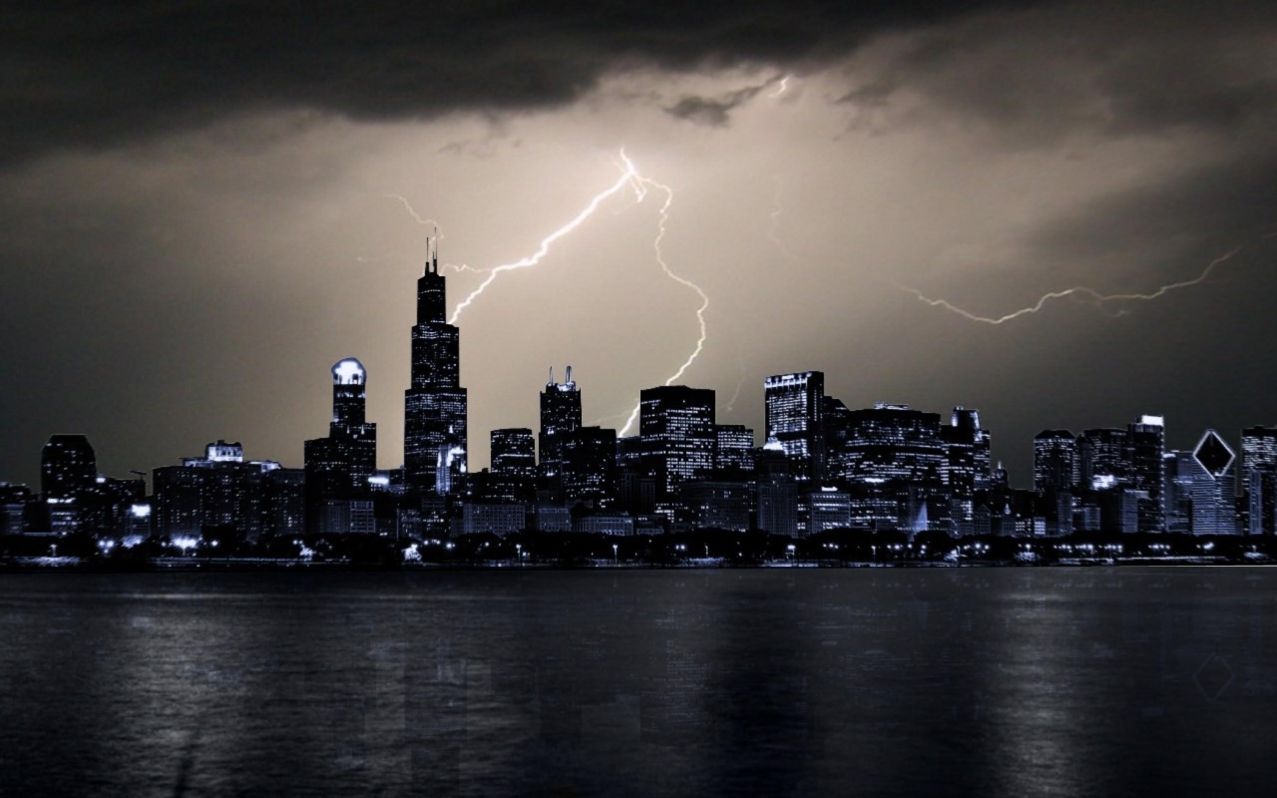 chicago rain storm lightning cities Wallpaper HD